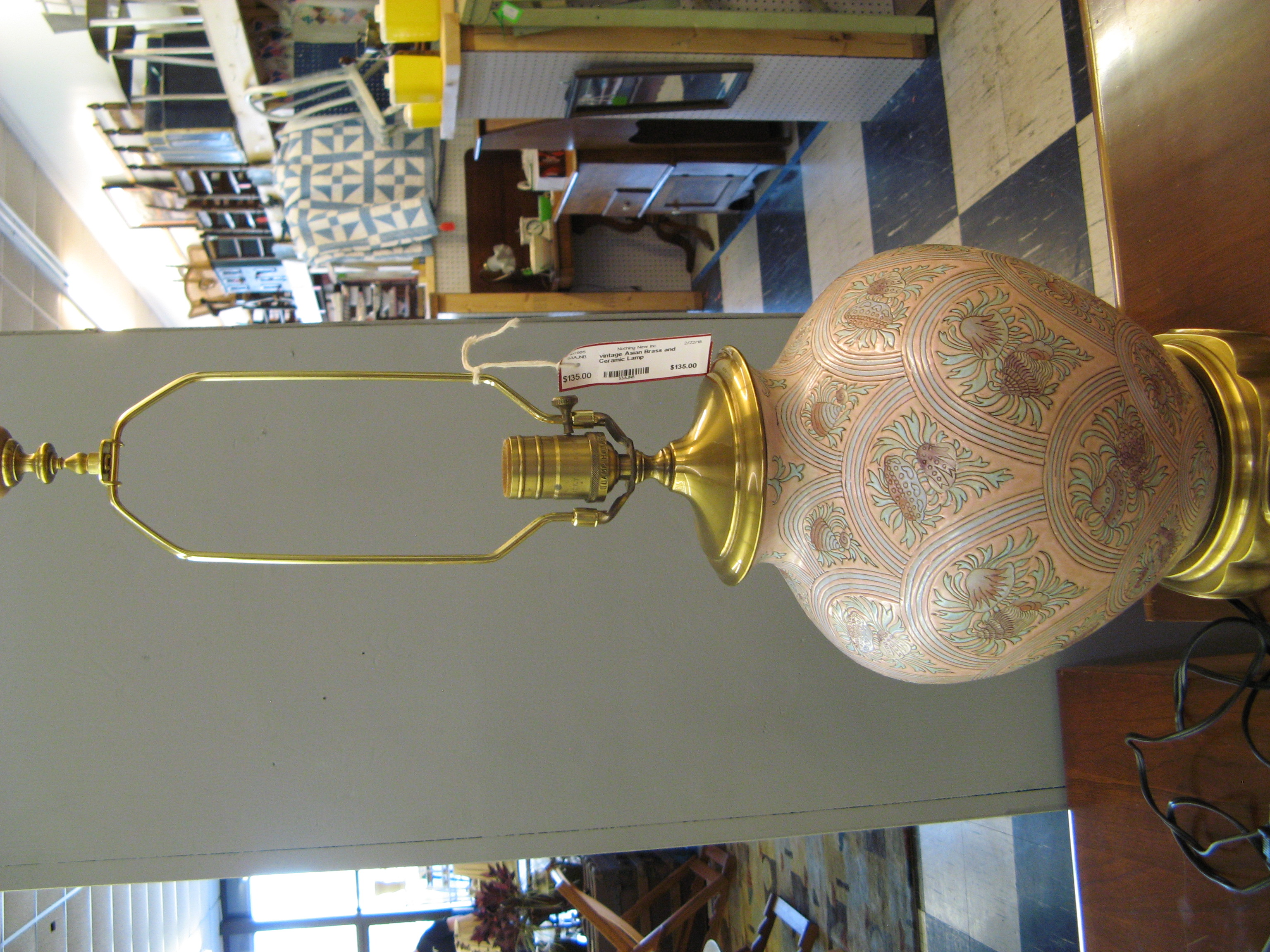 Vintage Asian Brass and Ceramic Lamp