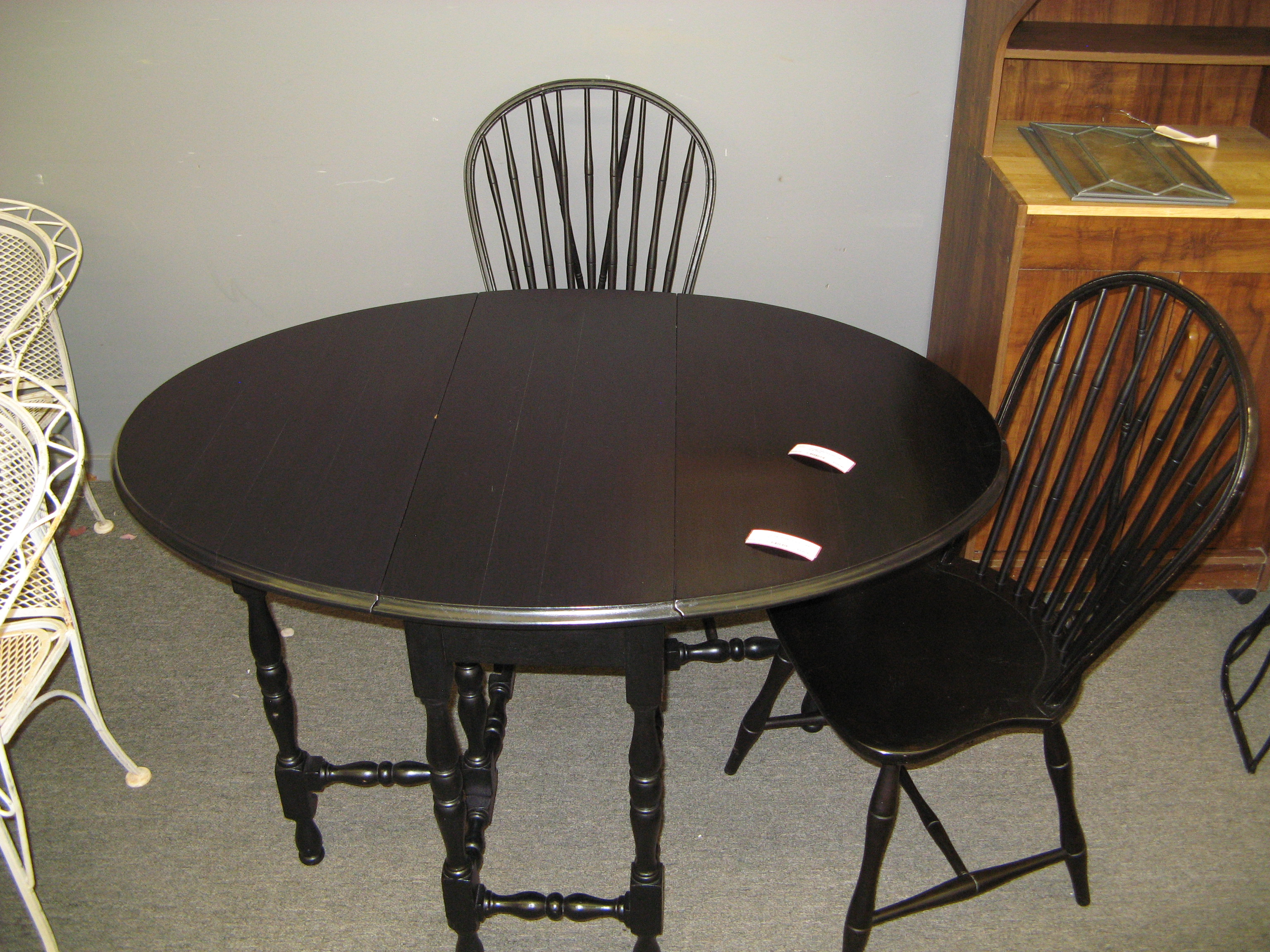 Vintage Double Drop Leaf Gate Leg Table Set, Black