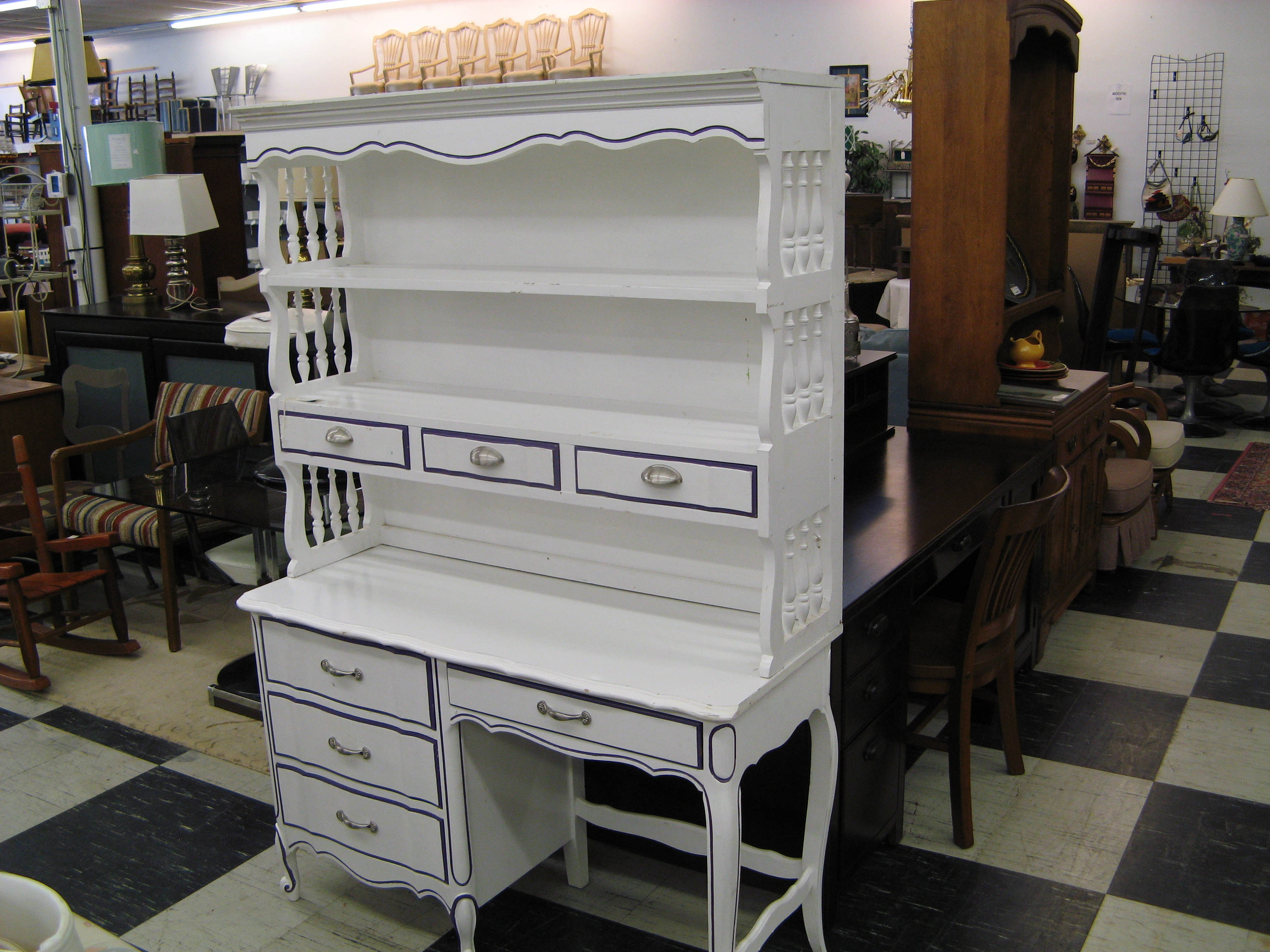 Vintage Dixie French Provincial Desk with Hutch