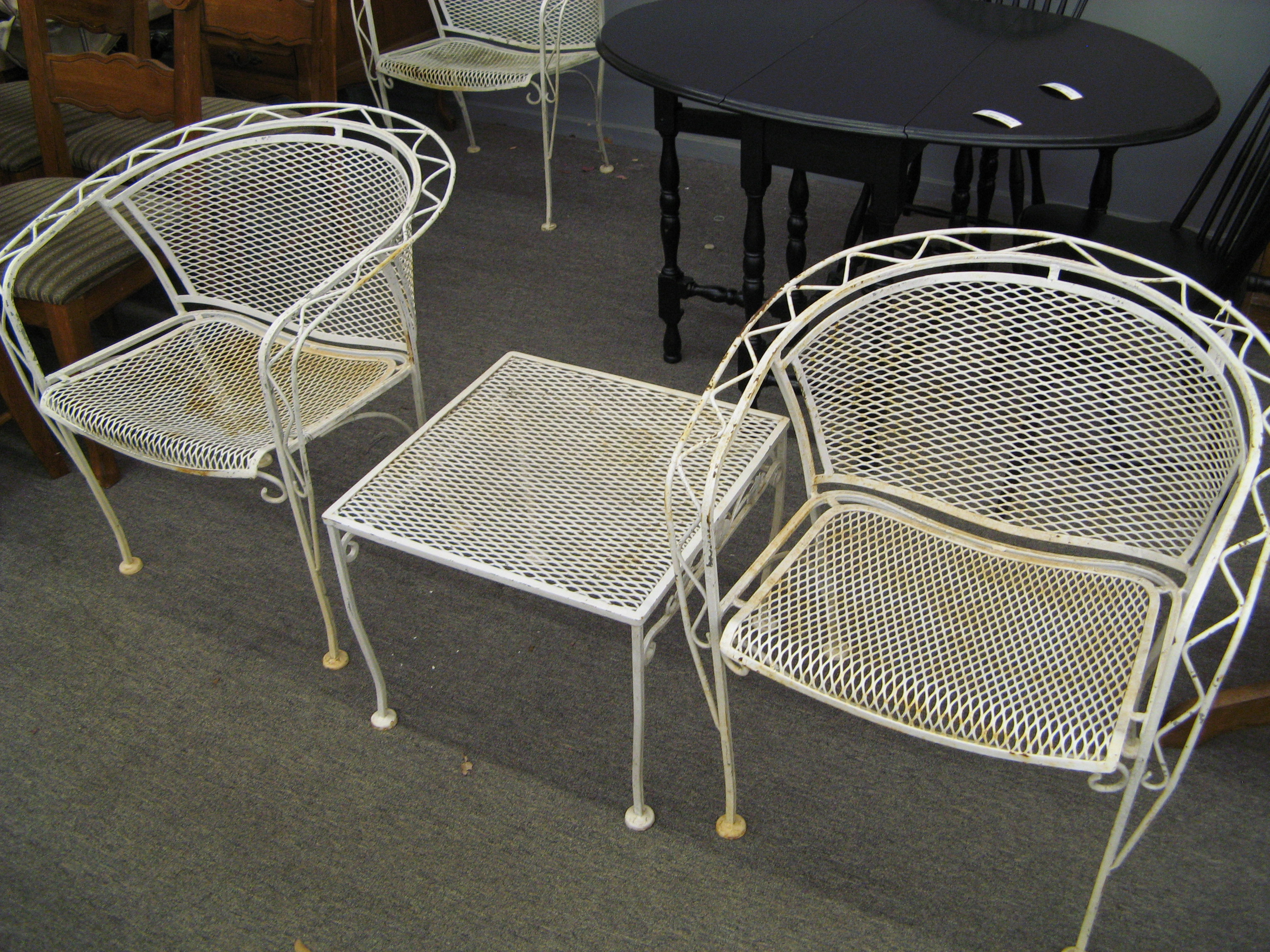 1950's White Wrought Iron 4-Piece Set: 3 Chairs and Side Table