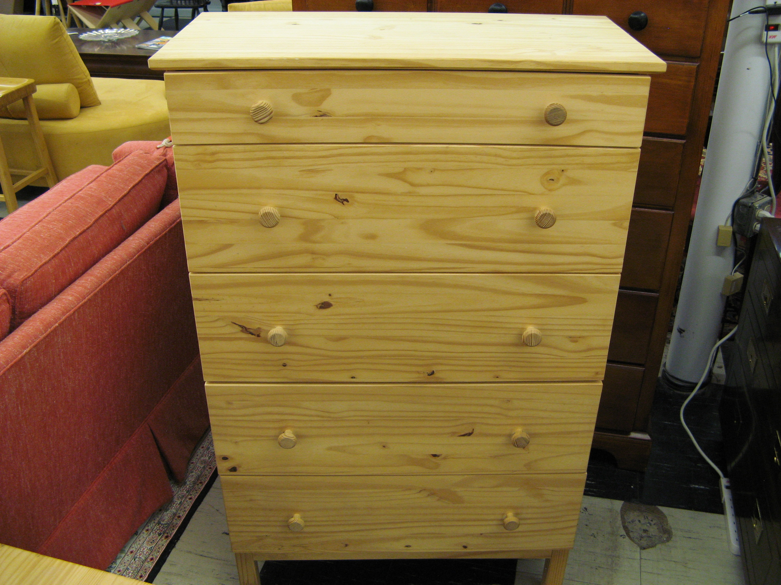 5-Drawer Pine Chest, Unfinished