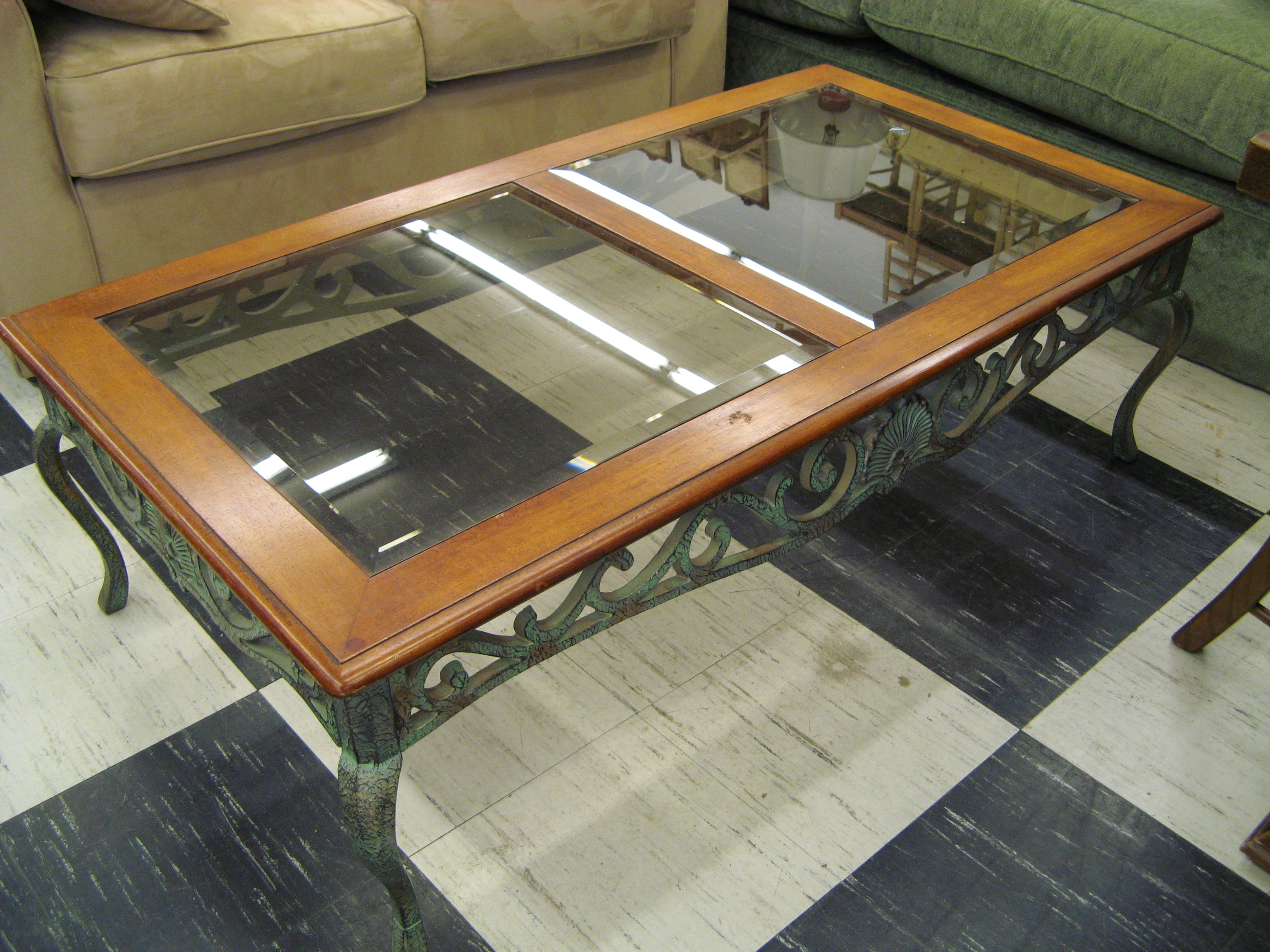 Rectangular Wood Coffee Table with Beveled Glass and Iron Base