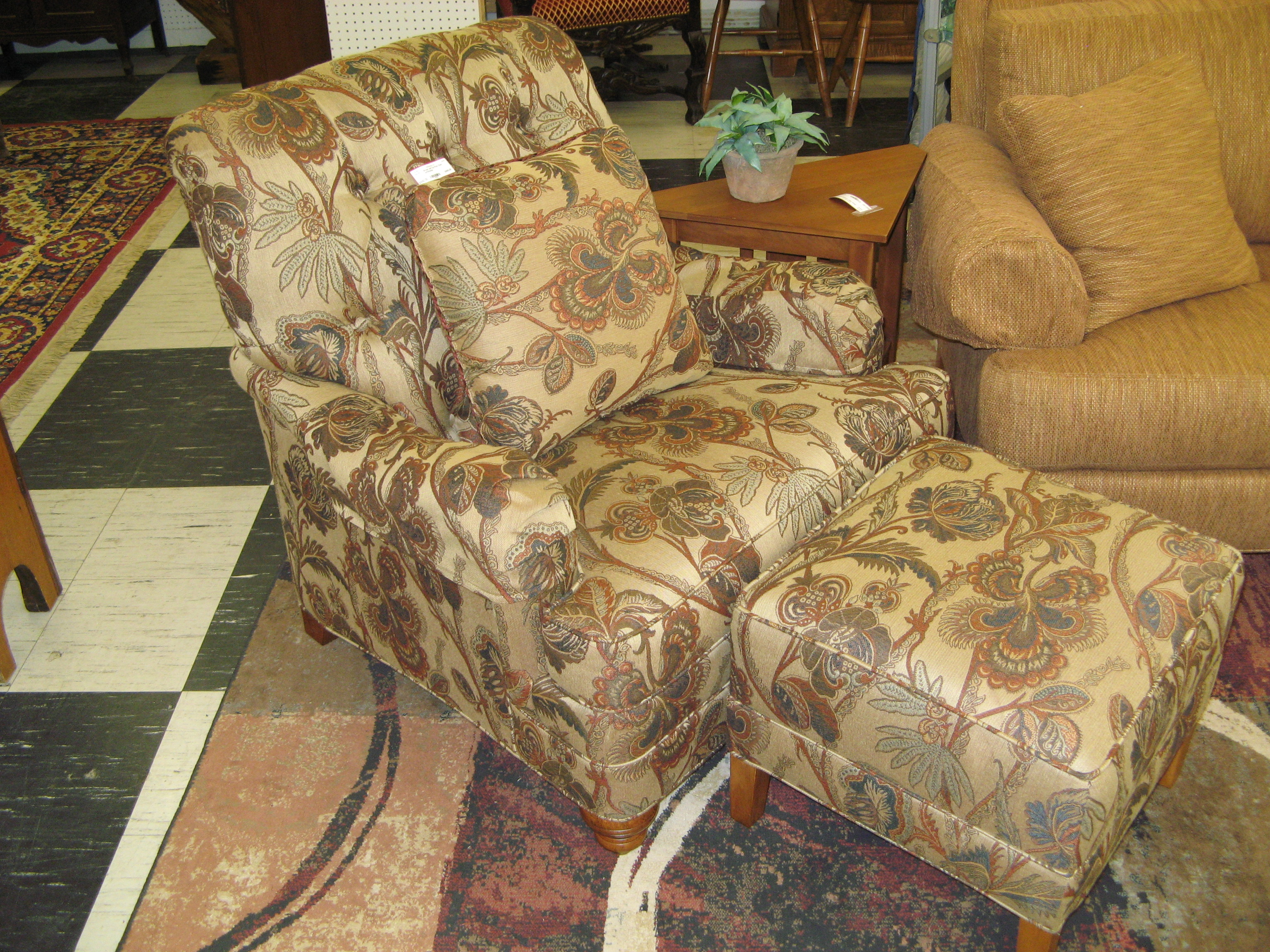 Ethan Allen Upholstered Chair w/ Ottoman - Brown, Tan, Copper & Blue