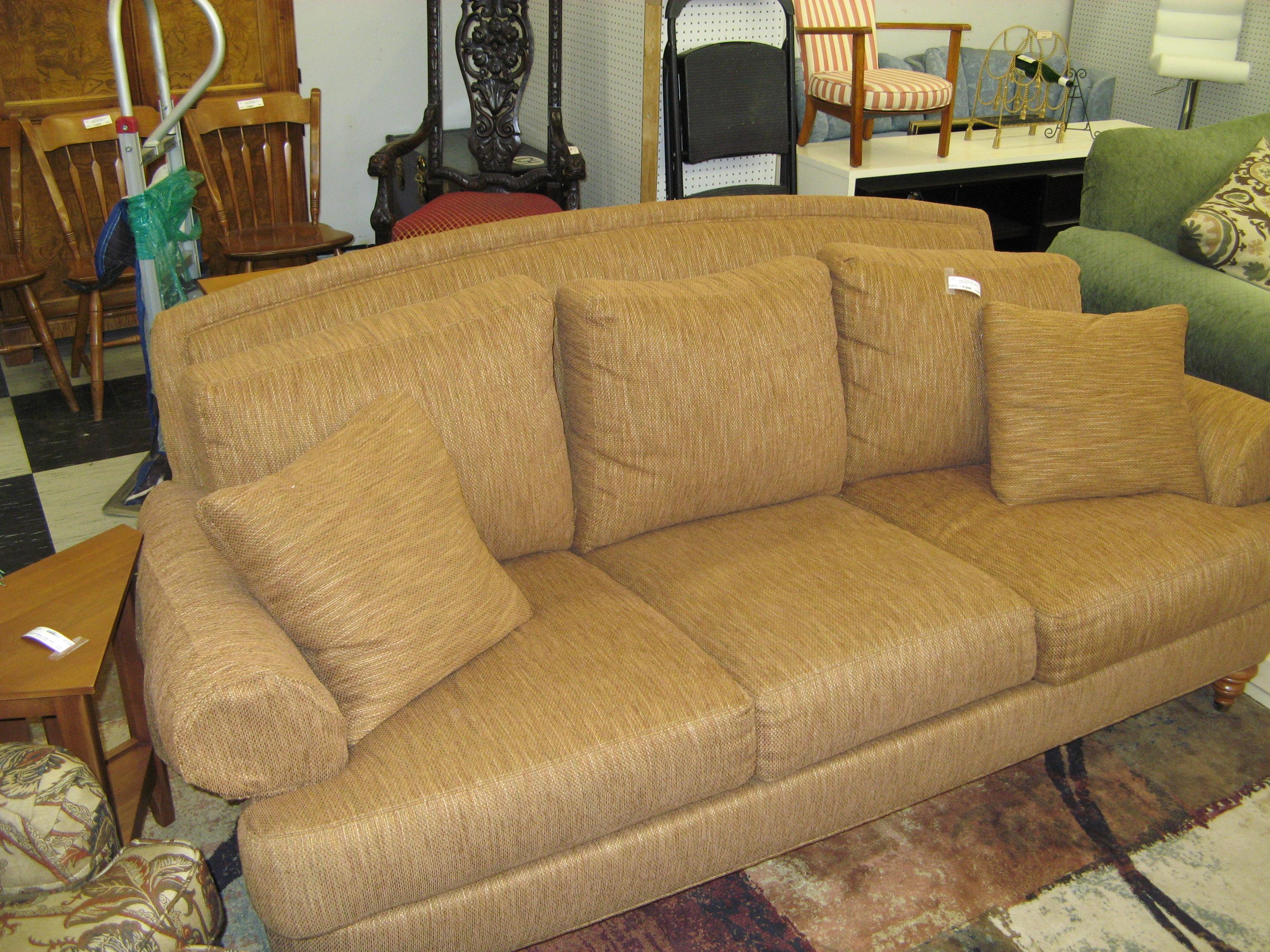 Golden Brown Ethan Allen Down Sofa