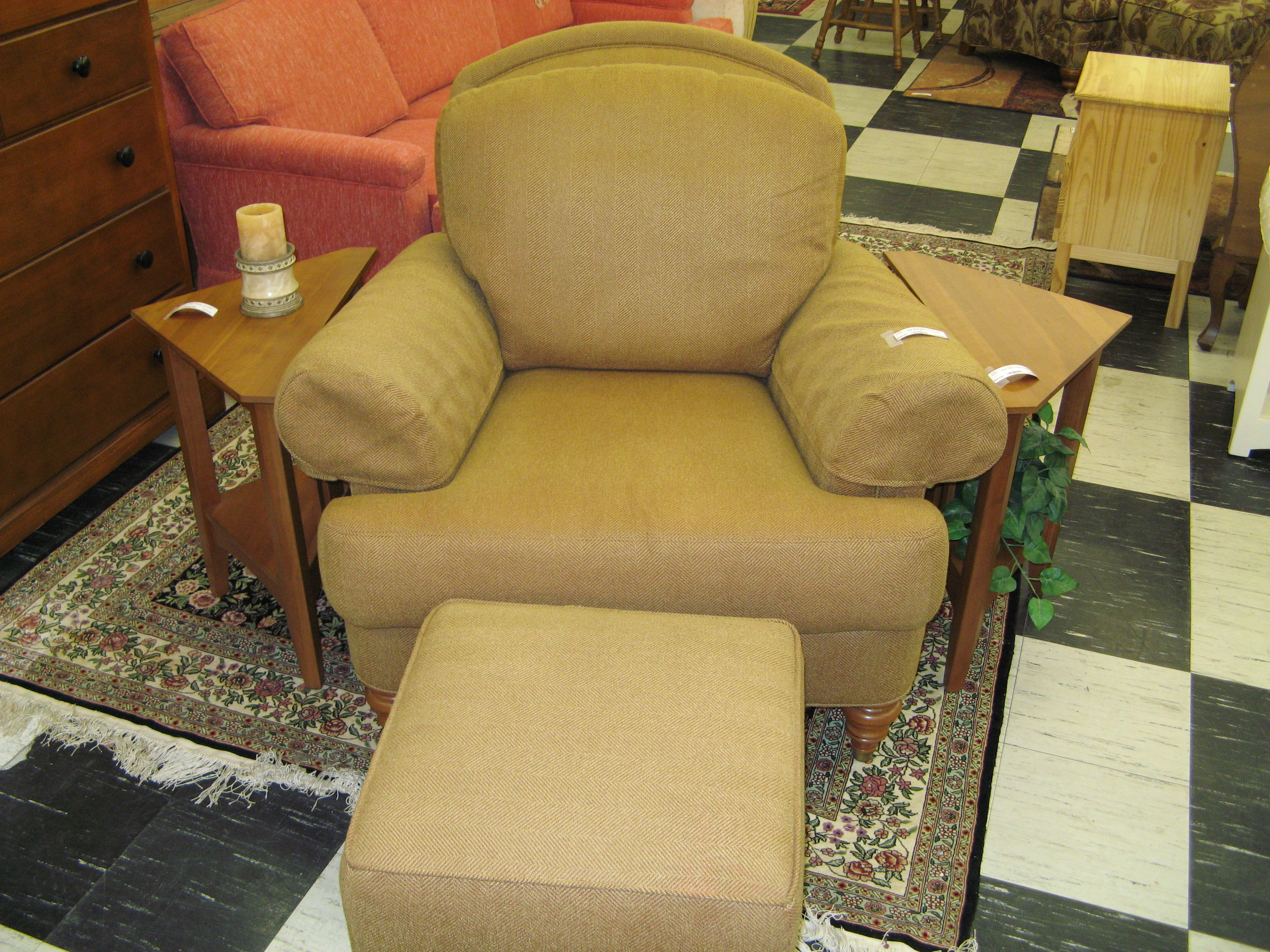 Ethan Allen Gold Upholstered Chair with Ottoman