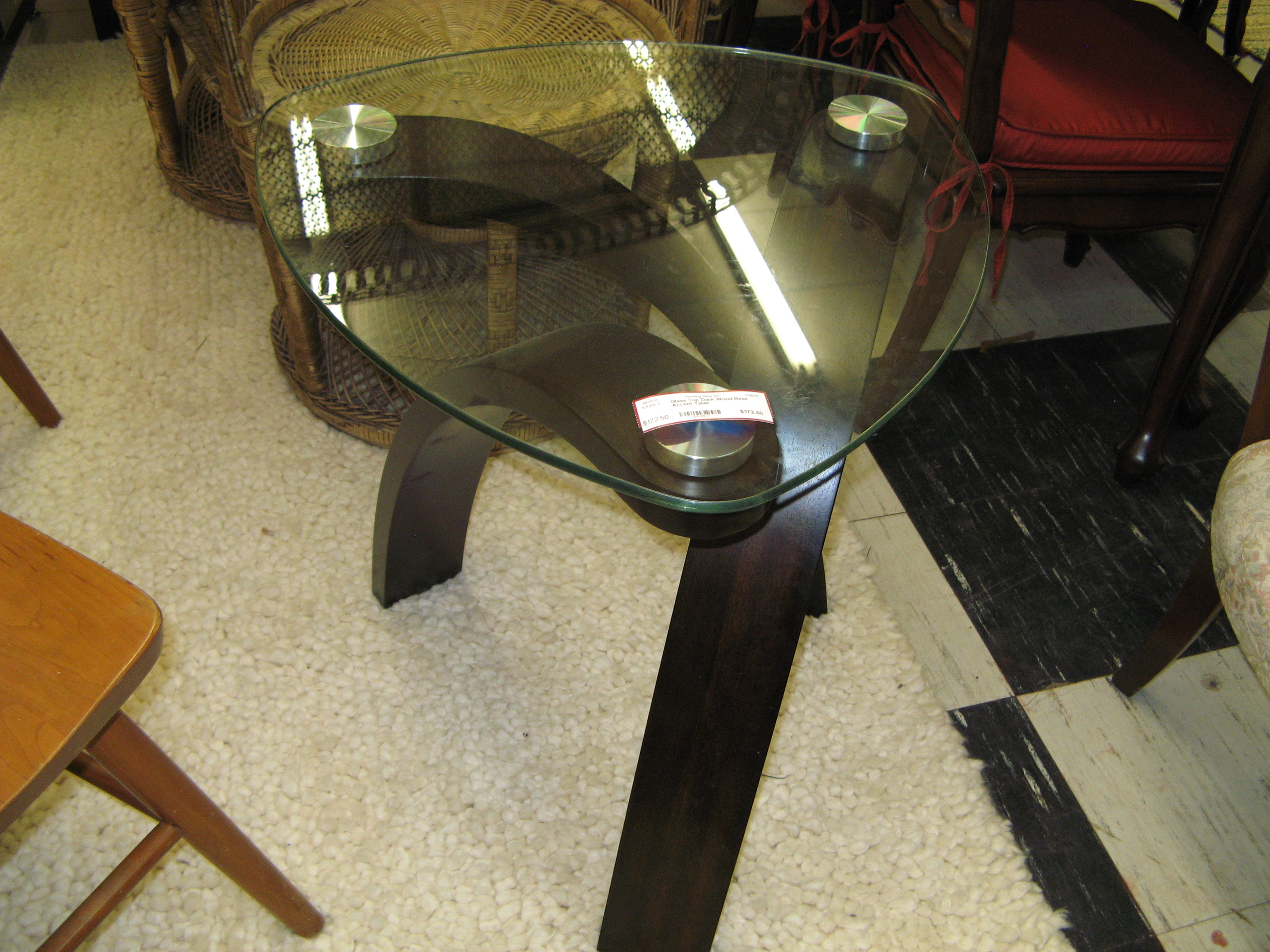 Triangular Glass Top Accent Table with Dark Wood Base