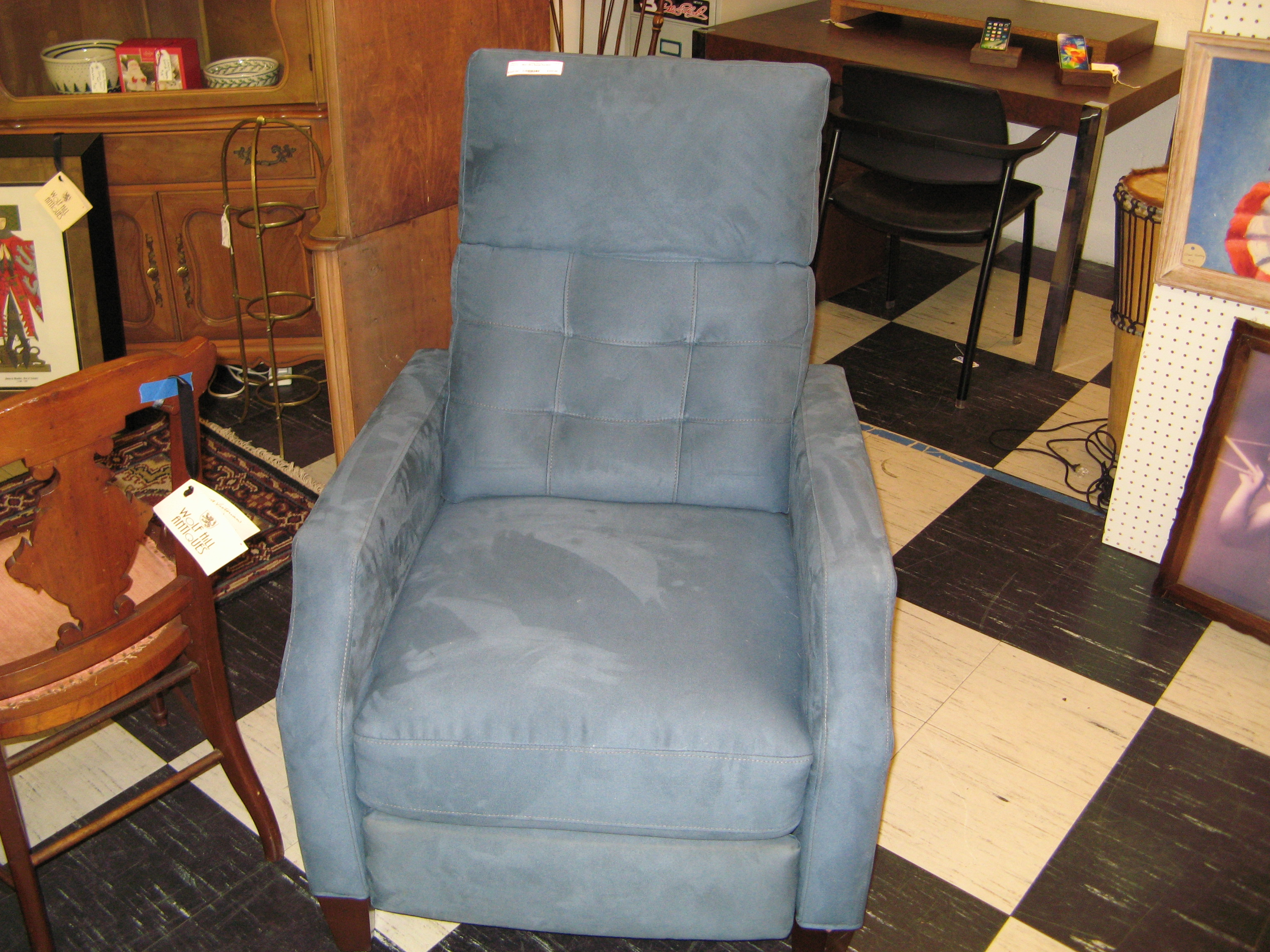 Blue Ultra Suede Recliner