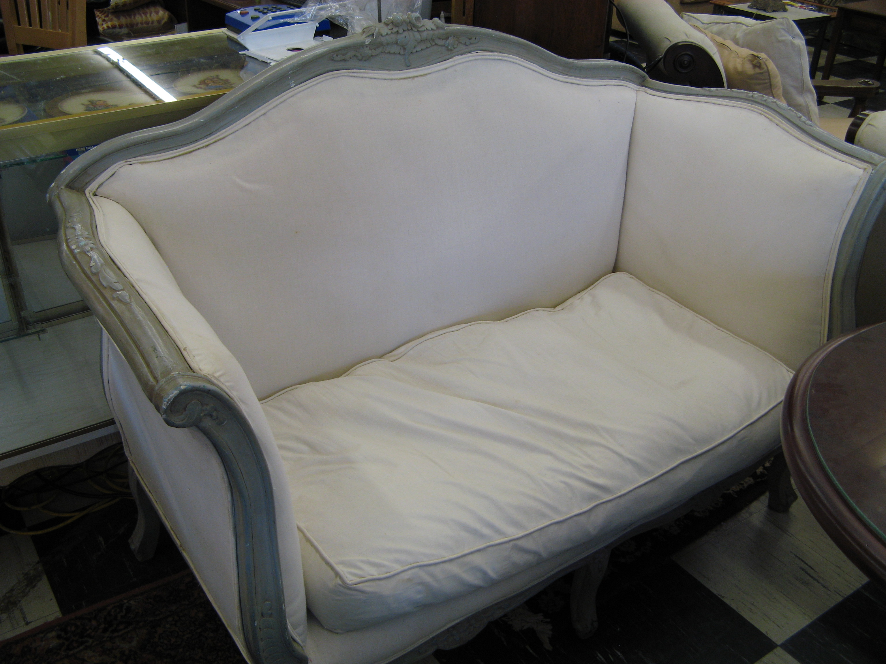 Antique French Settee with Cream Upholstery and Taupe Frame