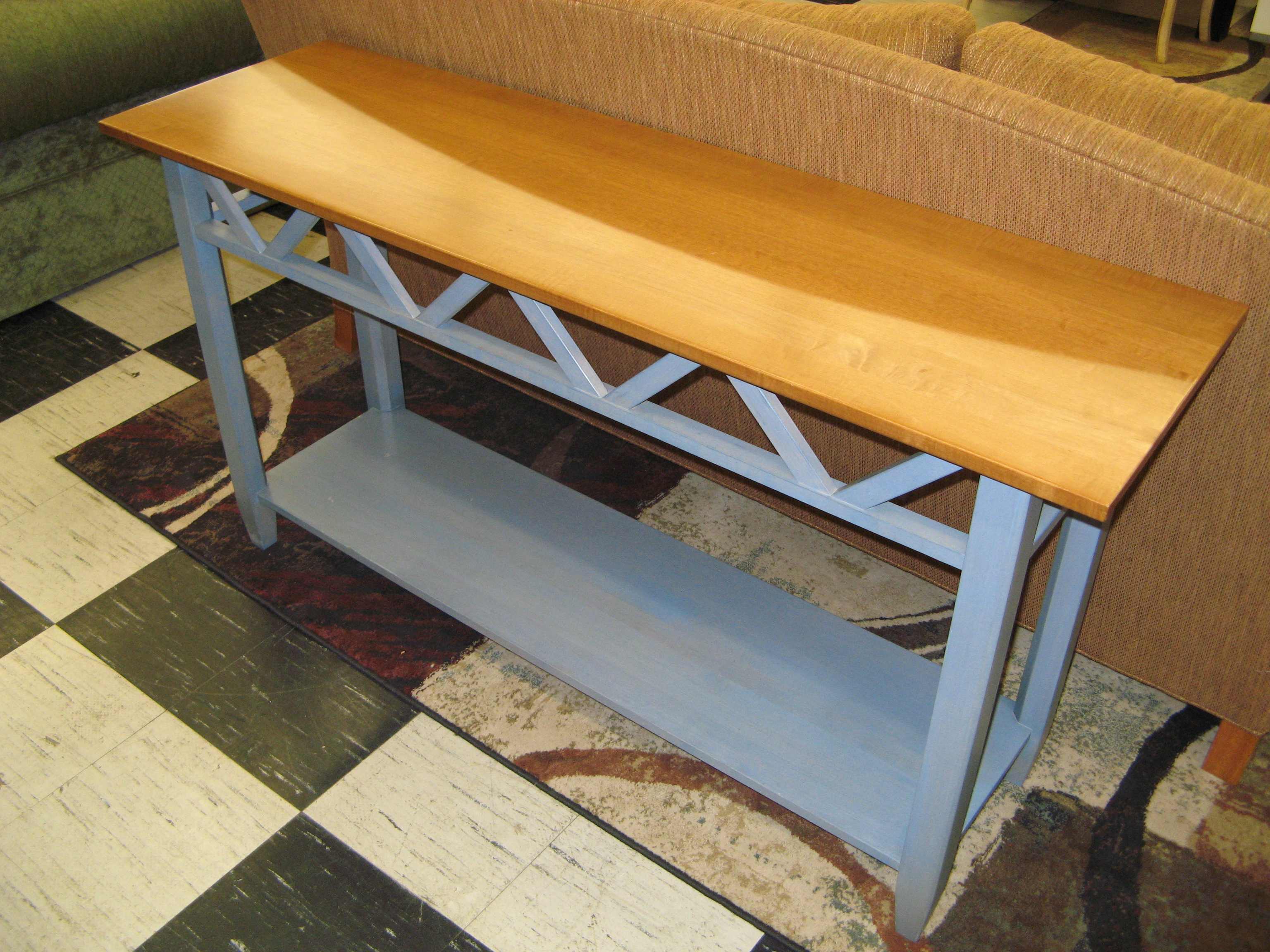 Ethan Allen Sofa or Hallway/Entryway Table, Grey Painted with Natural Wood Top