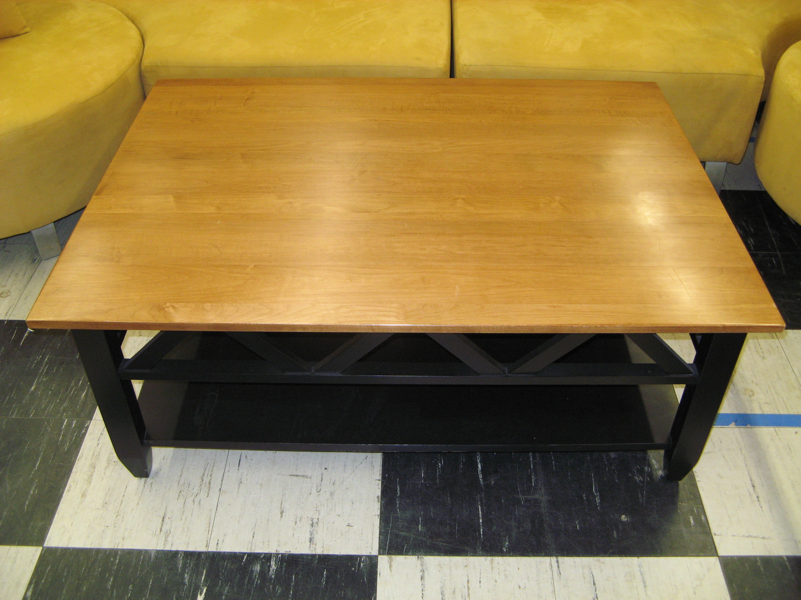 Ethan Allen Coffee Table, Black Painted Base w/ Natural Wood Top