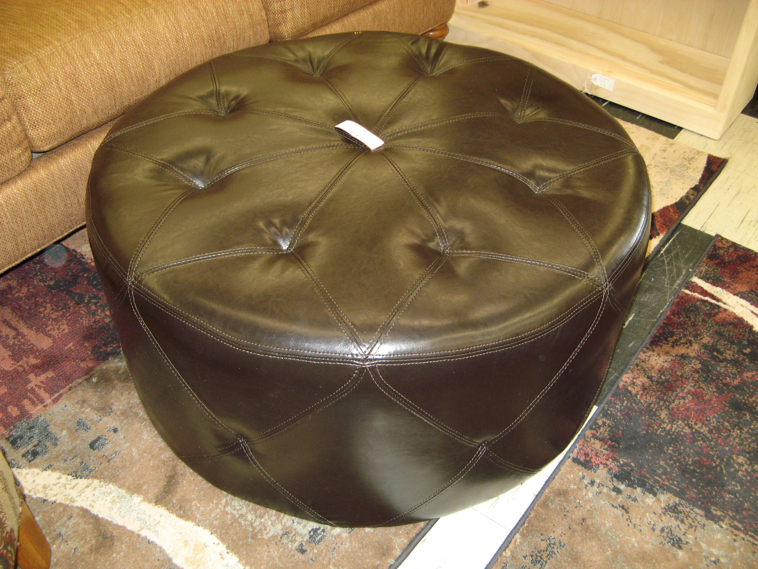 Faux Leather Round Ottoman, Espresso Brown (35