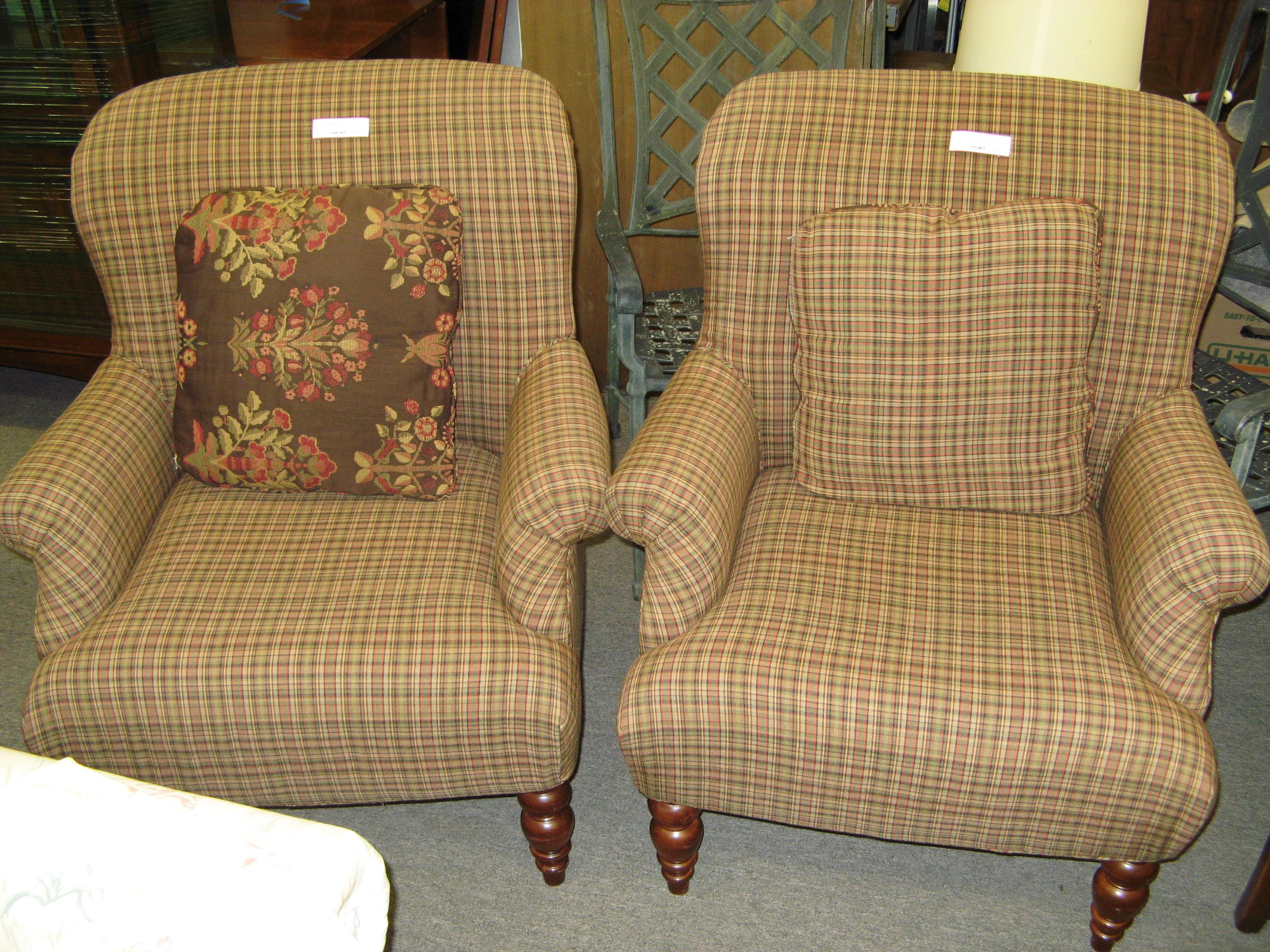 Plaid Upholstered Arm Chair, Earthtones