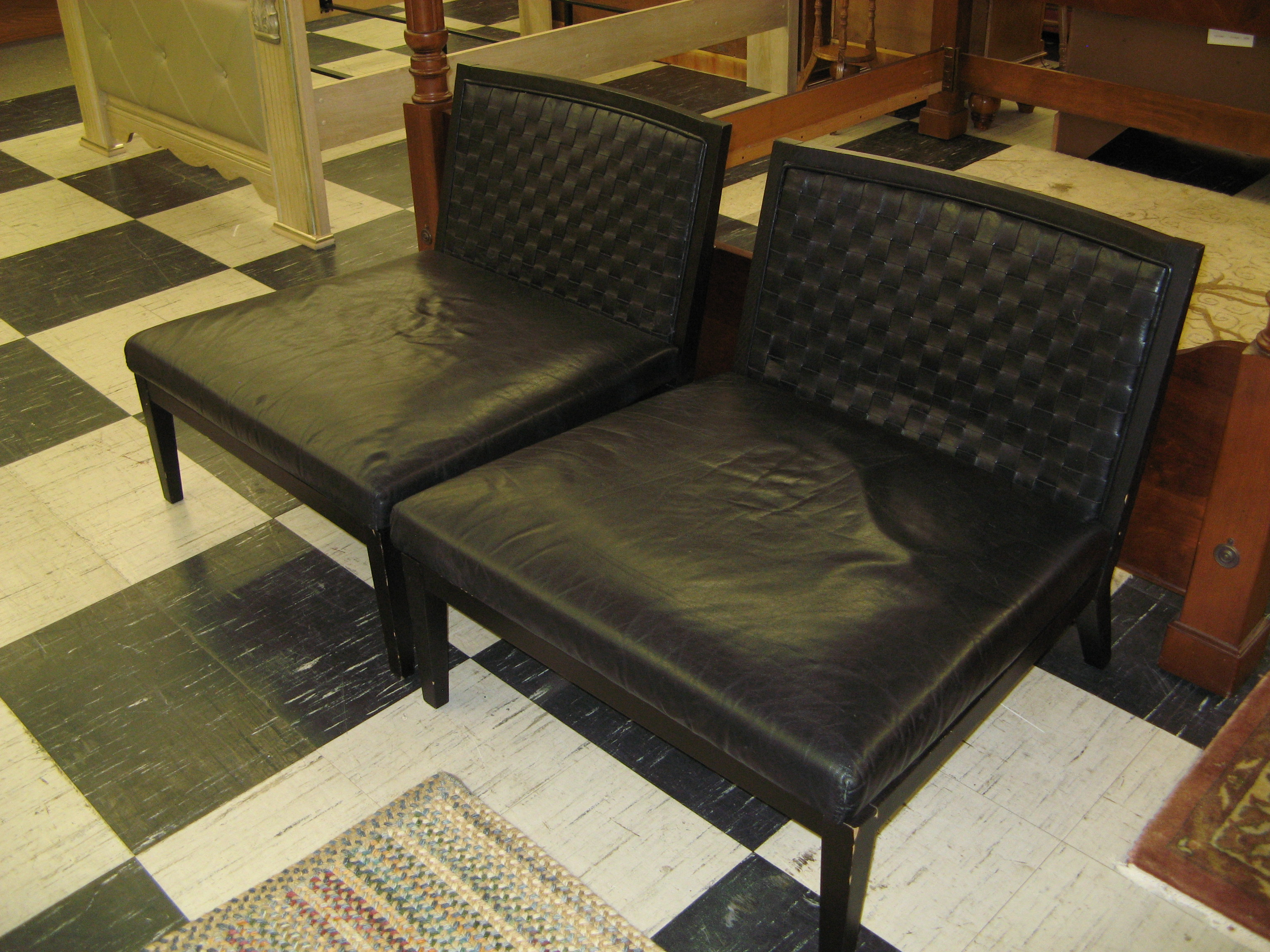 Pair of Modern Italian Black Leather Designer Chairs