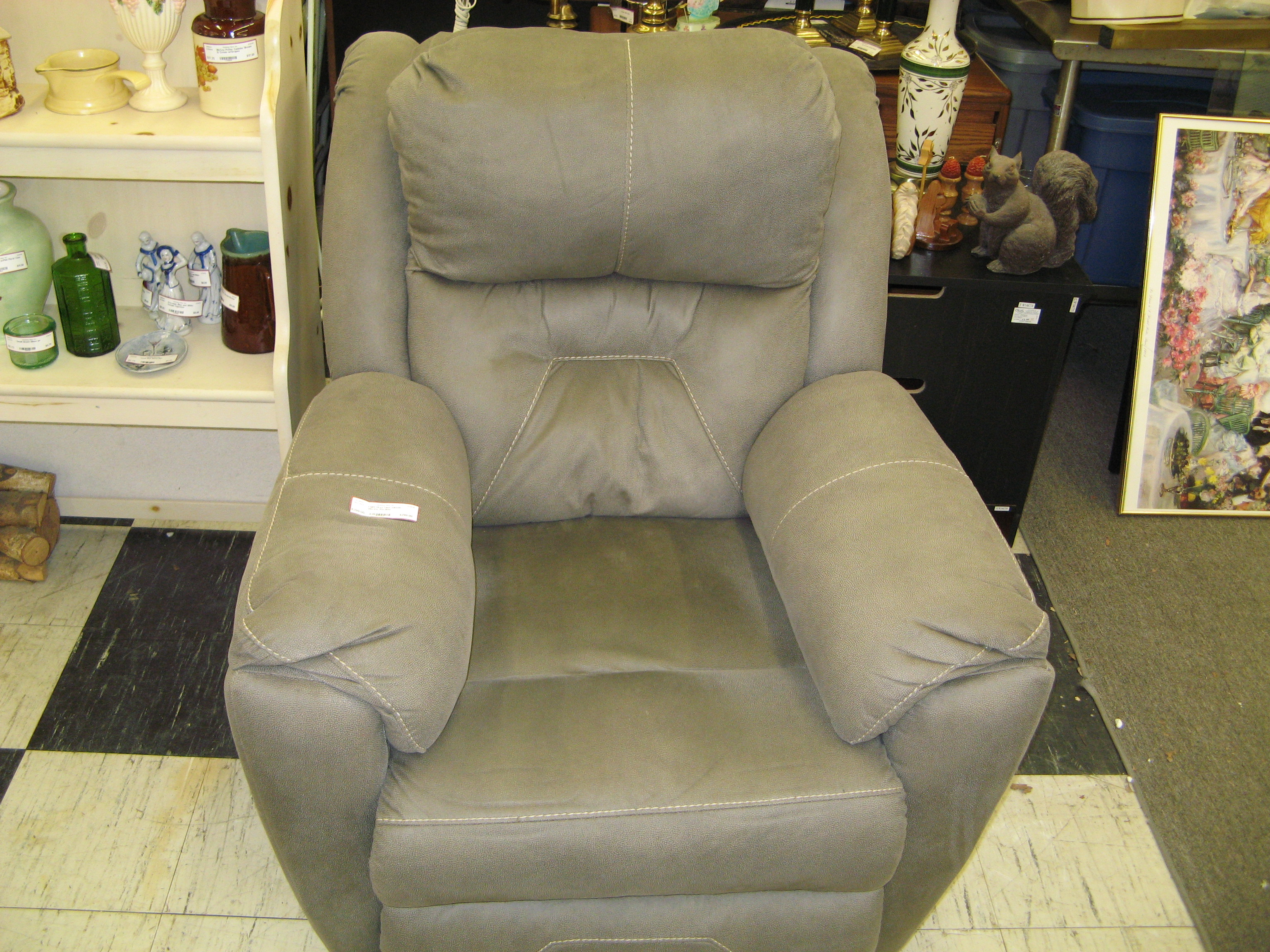 Grey/Brown Plush Padded Electric Recliner w/ Accent Stitchery
