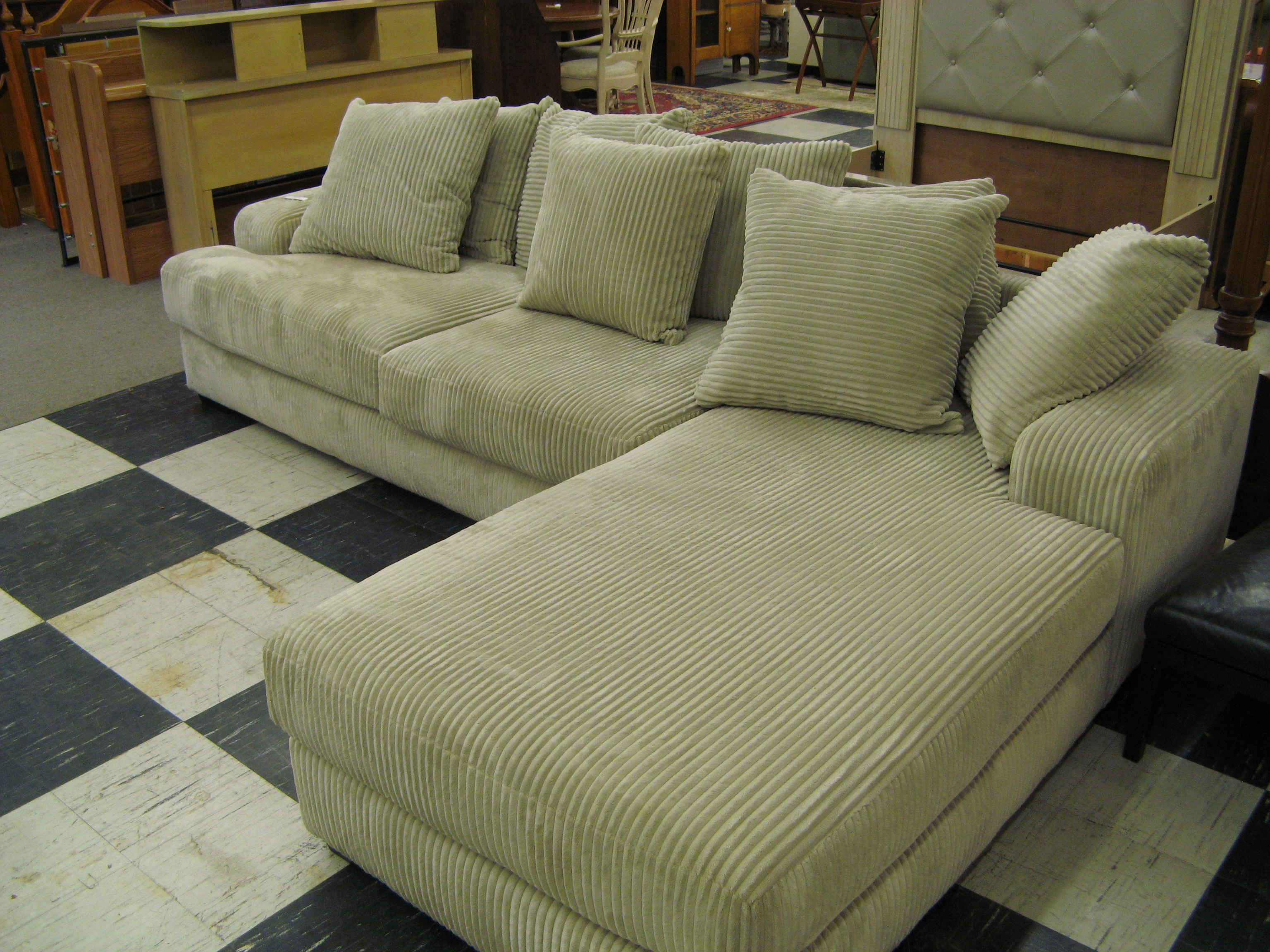 Off White Wide-Ribbed Corduroy Sofa w/Chaise & Pillows