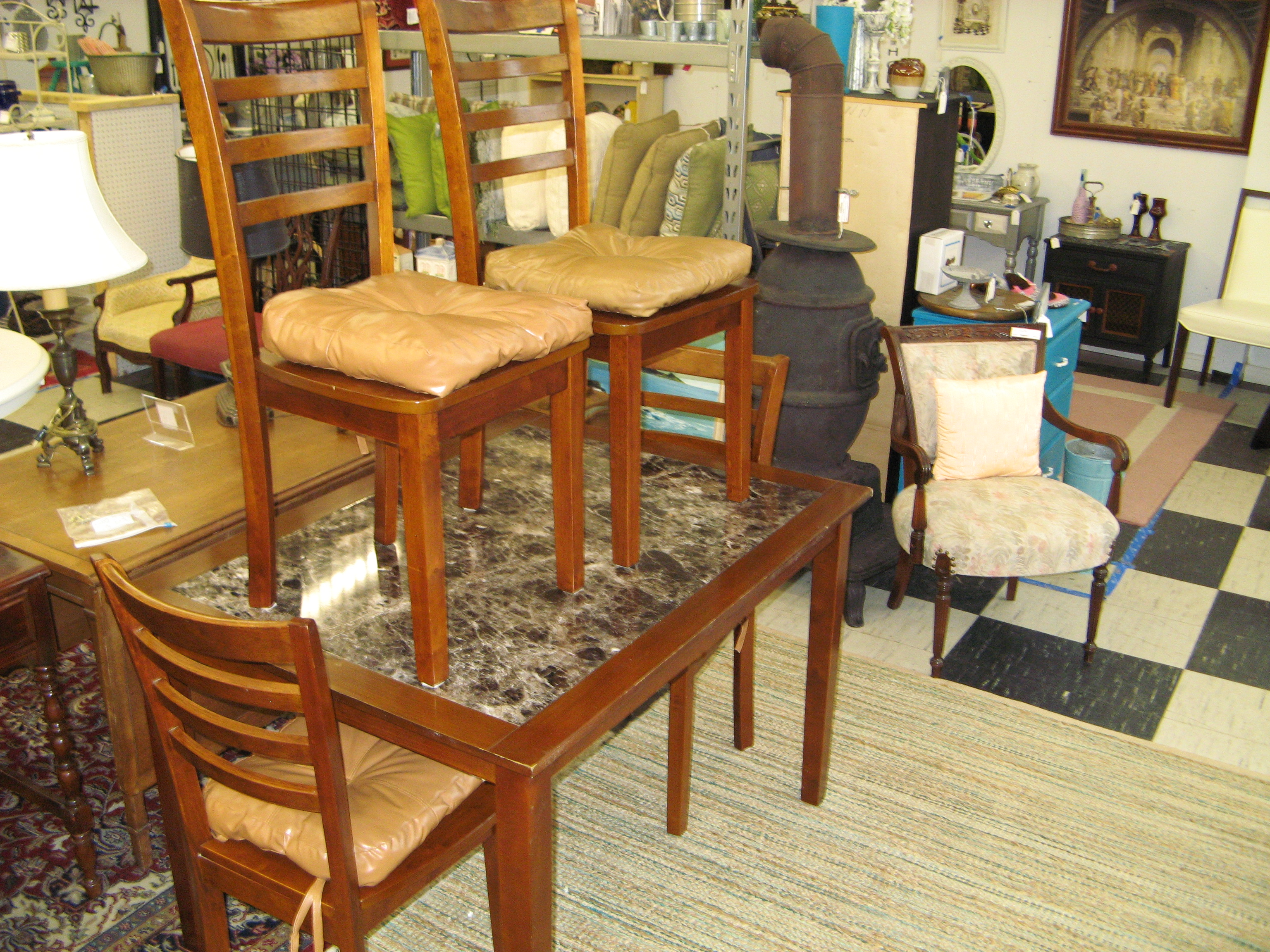 Faux Marble Top Dining Table w/ 4 Chairs