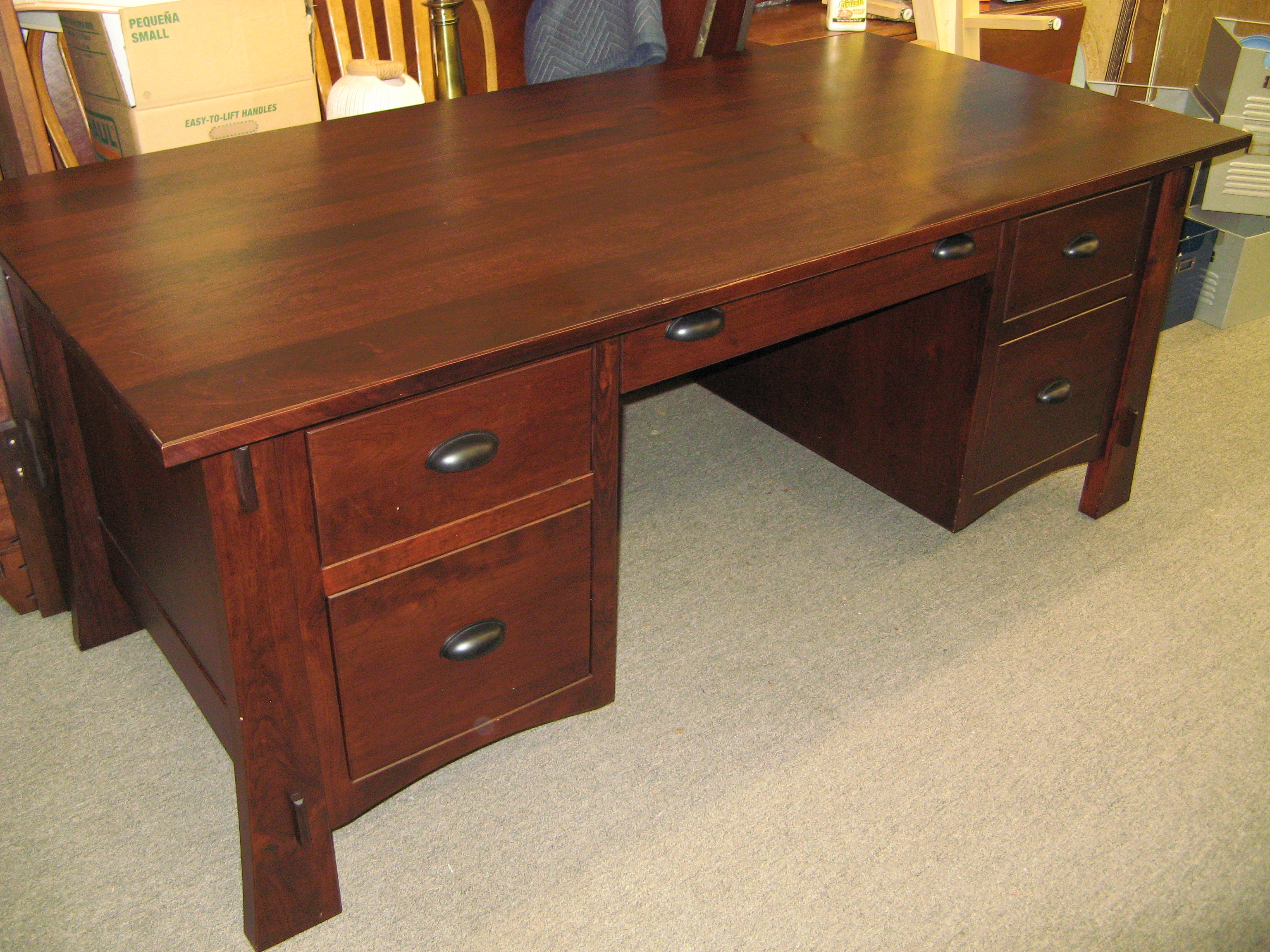 Amish Made Solid Cherry Mission Inspired Desk with Auburn Stain