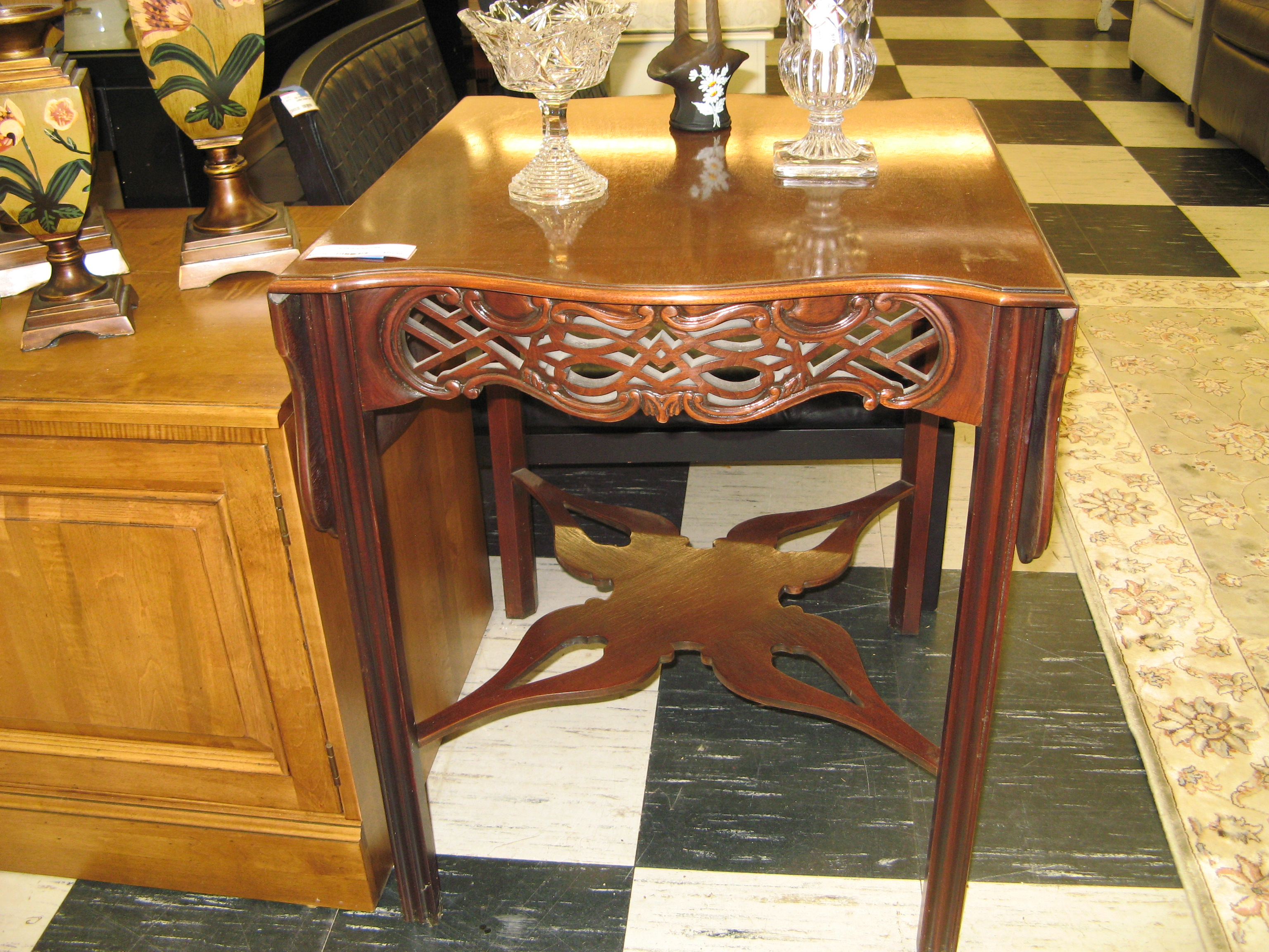 Small Mahogany Drop Leaf Accent Table with Carved Sides