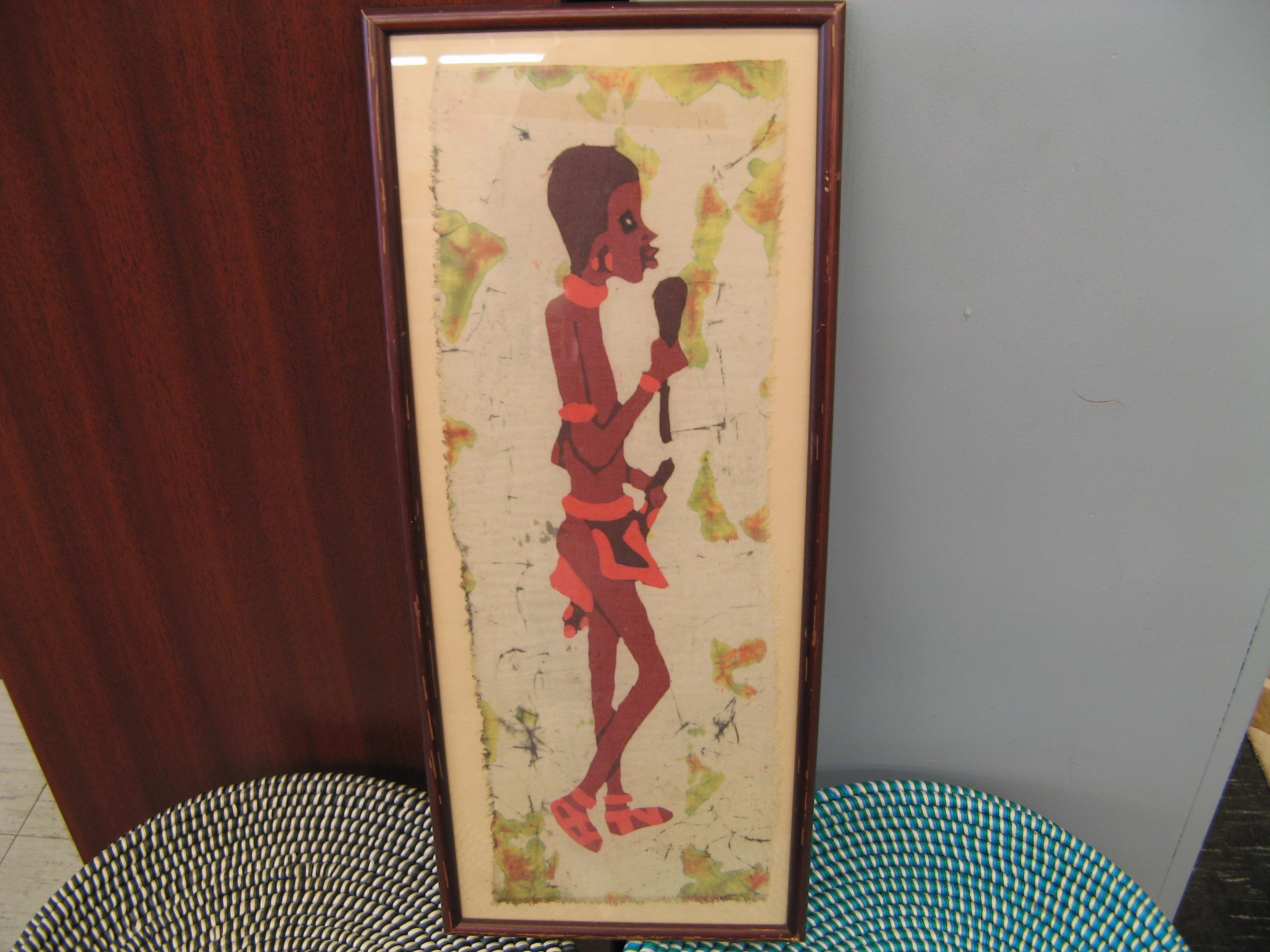Wall Art of African Figure - Red/Orange/Brown