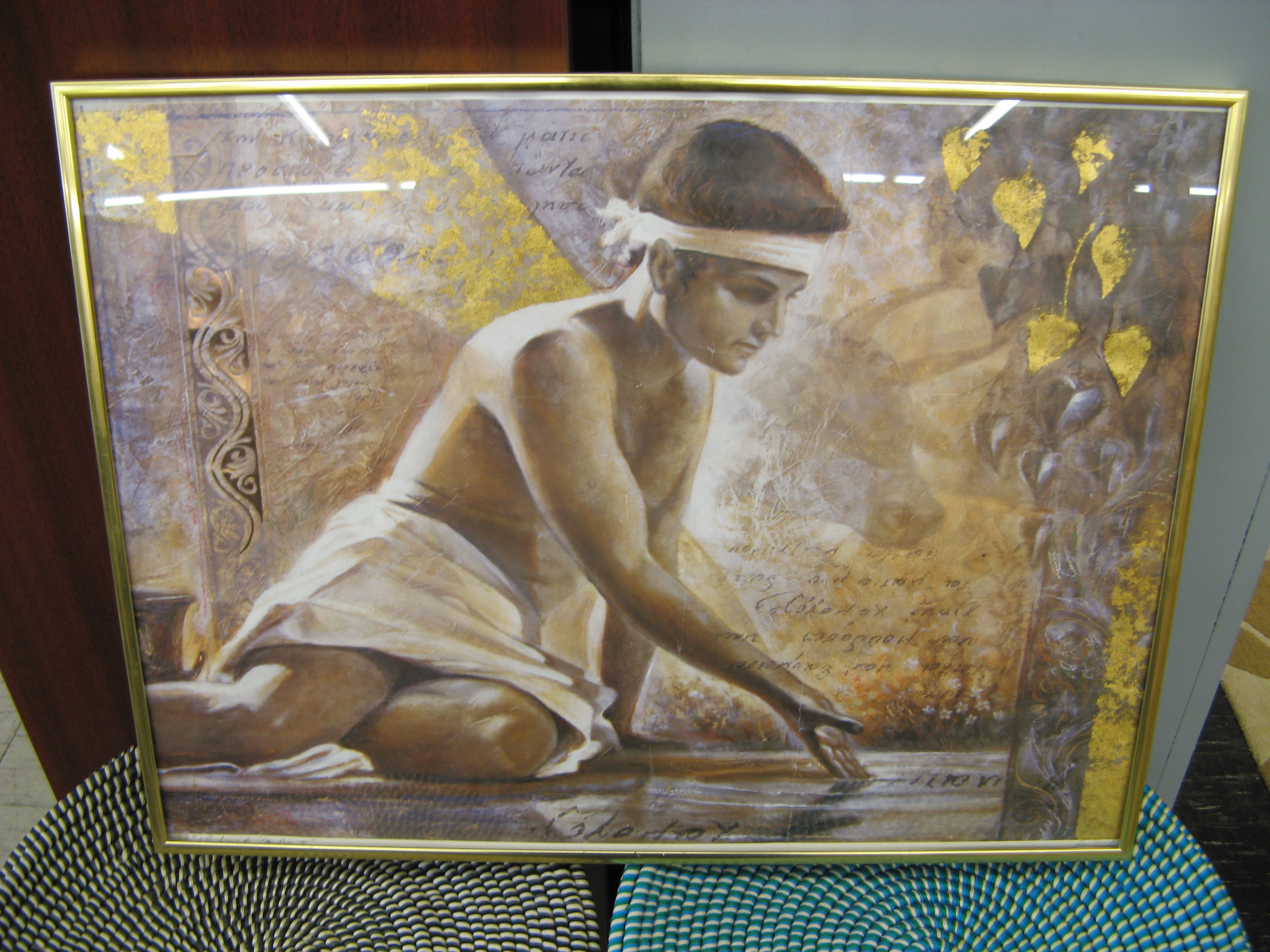 Wall Art of Boy in Ancient Setting, Gold Frame