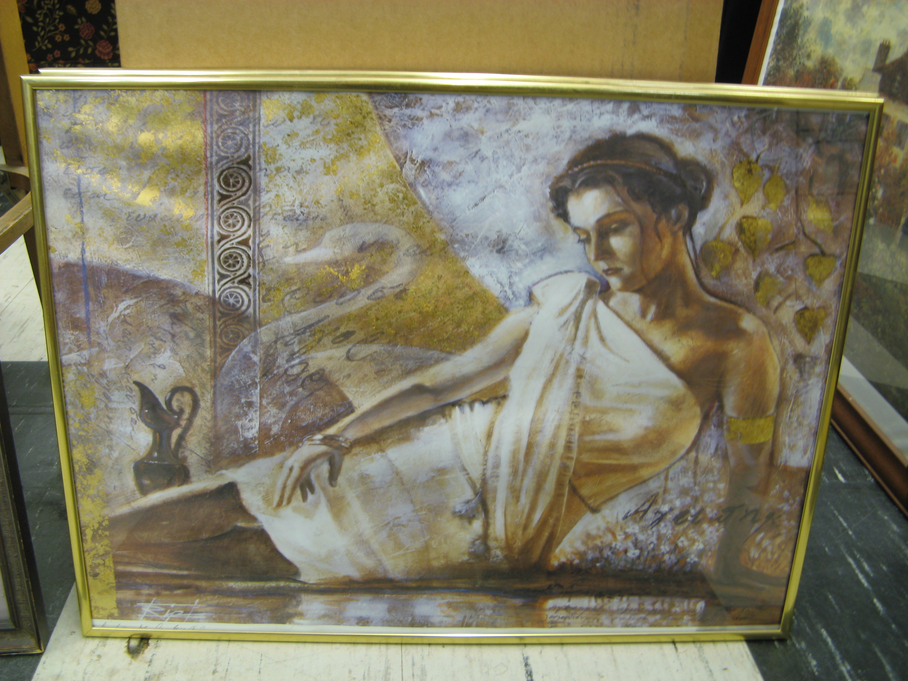 Wall Art of Young Woman in Ancient Setting, Gold Frame