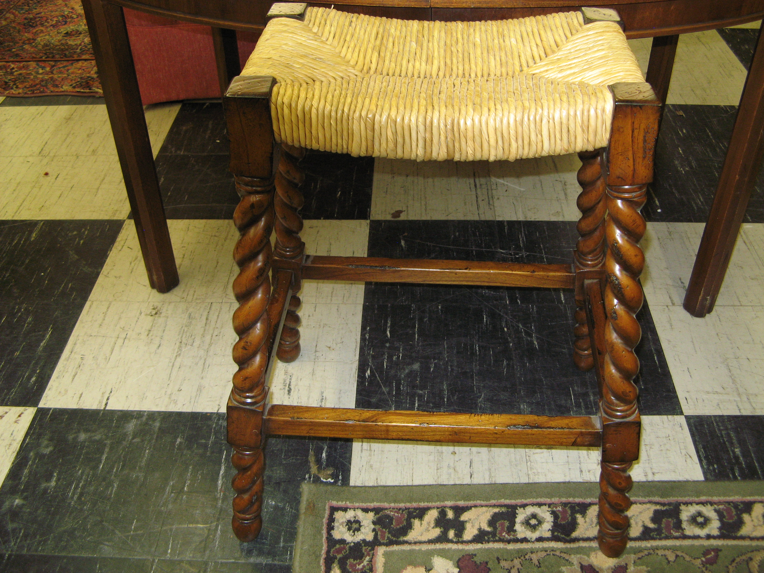 Barley Twist Rush Seat Stool