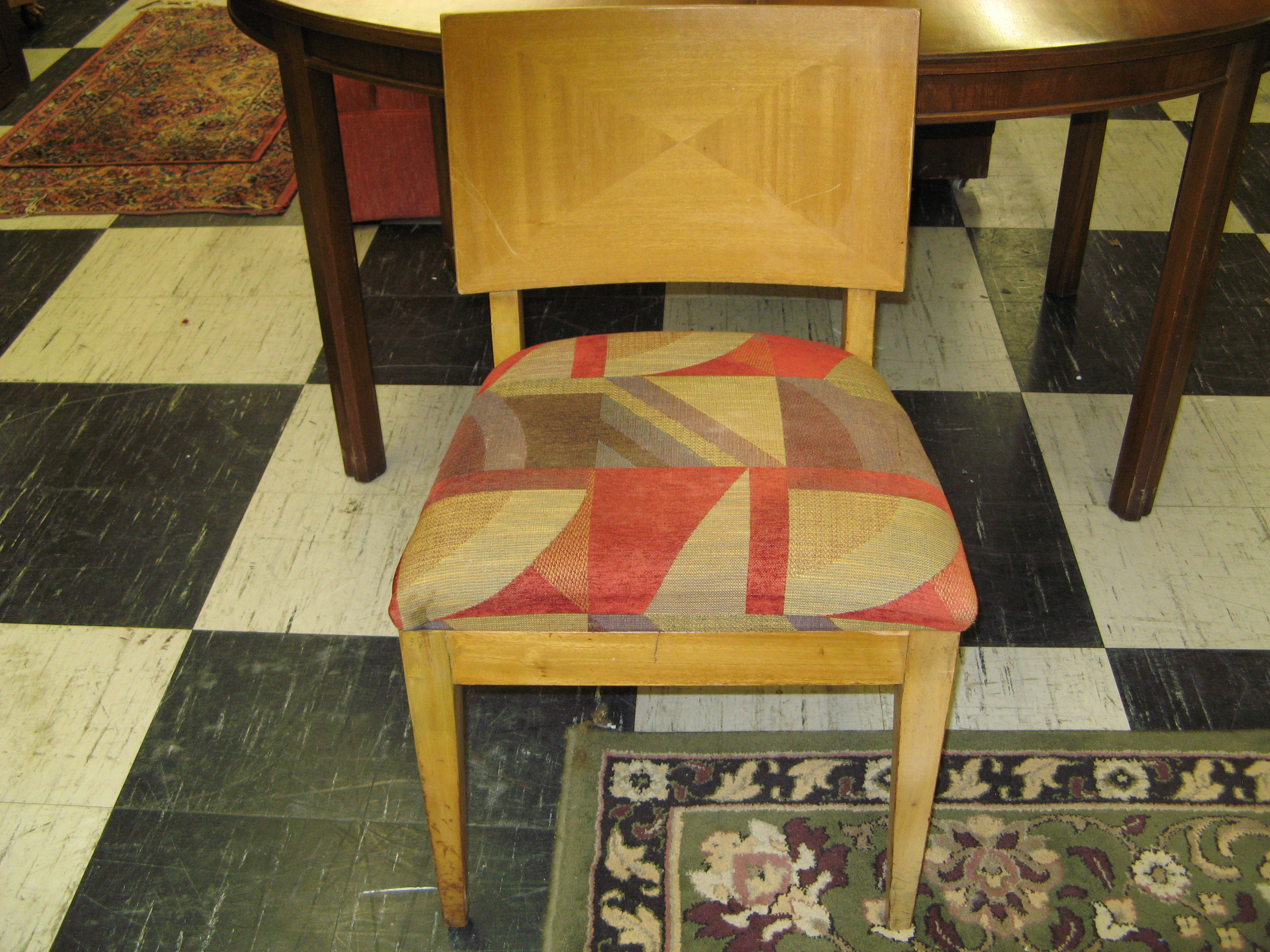 MCM Accent Chair w/ Red & Multi Geo Abstract Upholstery
