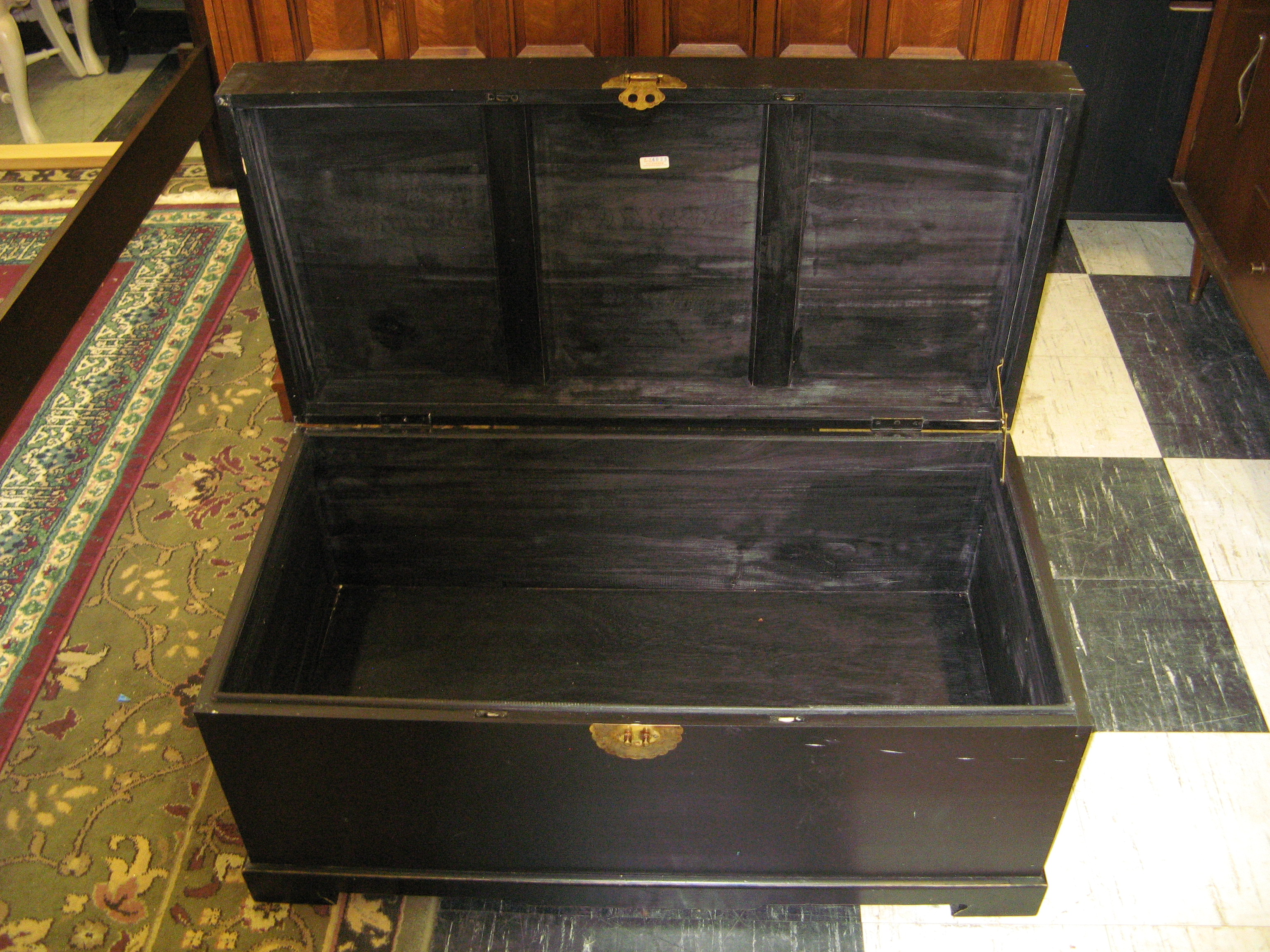 Vintage Asian Trunk, Black with Brass Latch