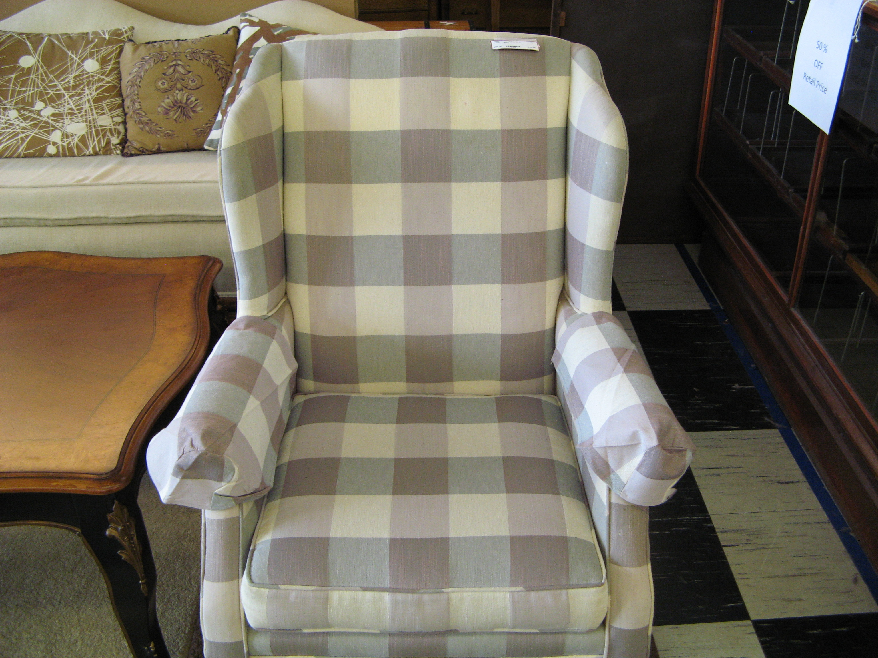 Mauve, Beige & Grey  Upholstered Armchair