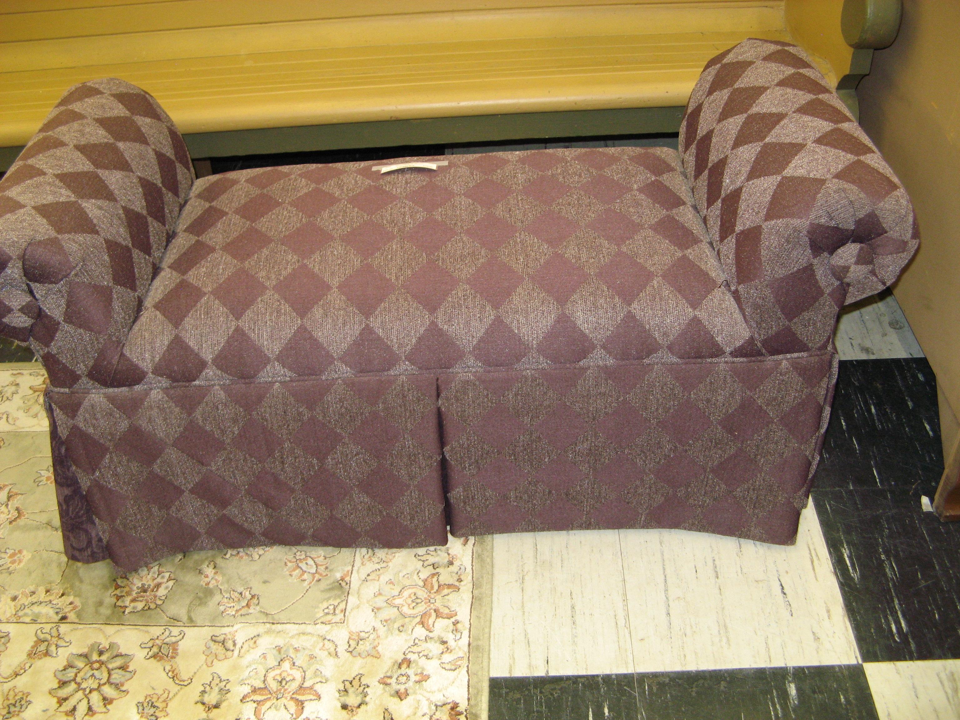 Plum & Mauve Upholstered Ottoman w/ Harlequin Diamond Pattern