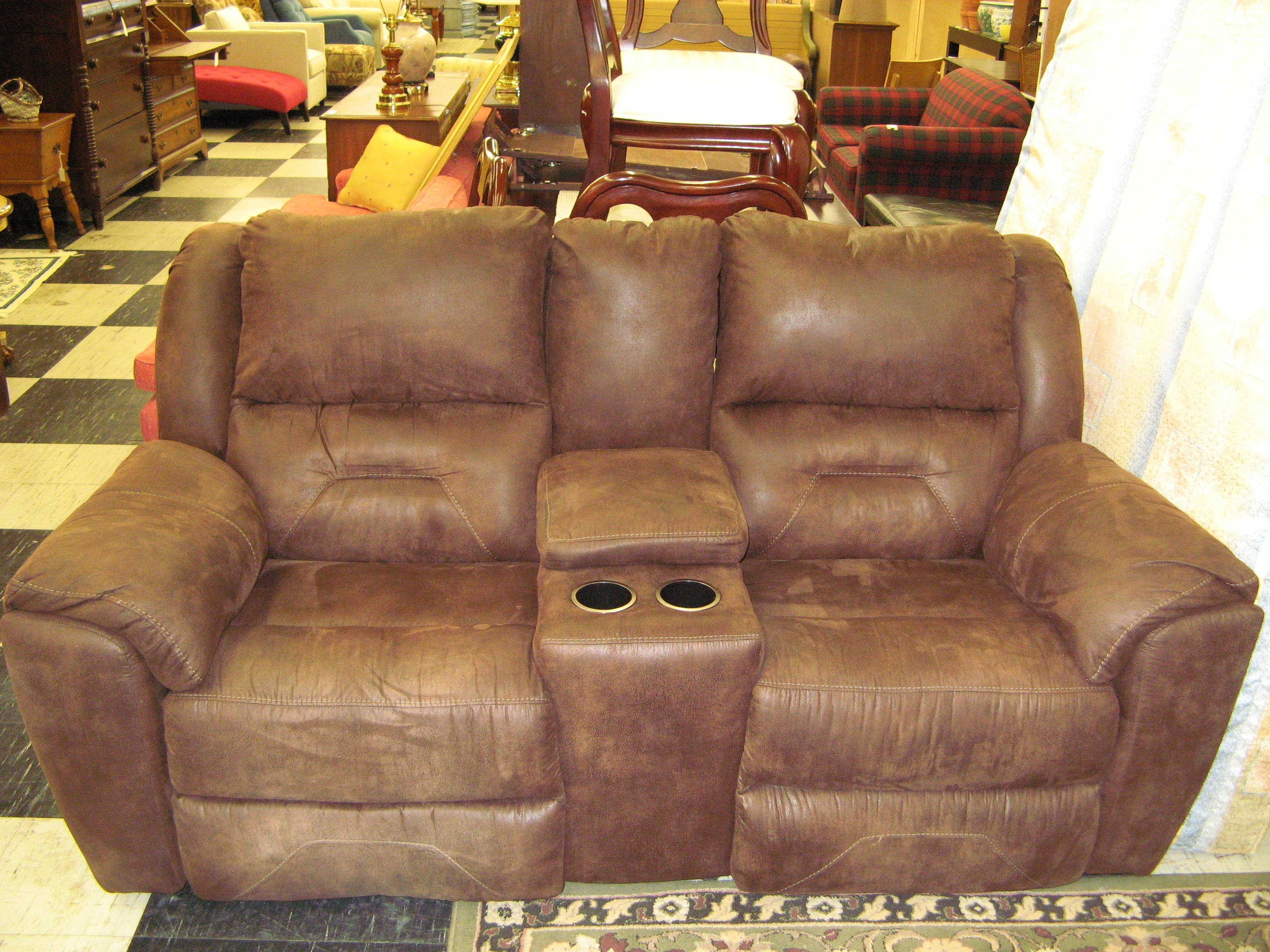 Brown Suede Electric Double Recliner w/ Center Console