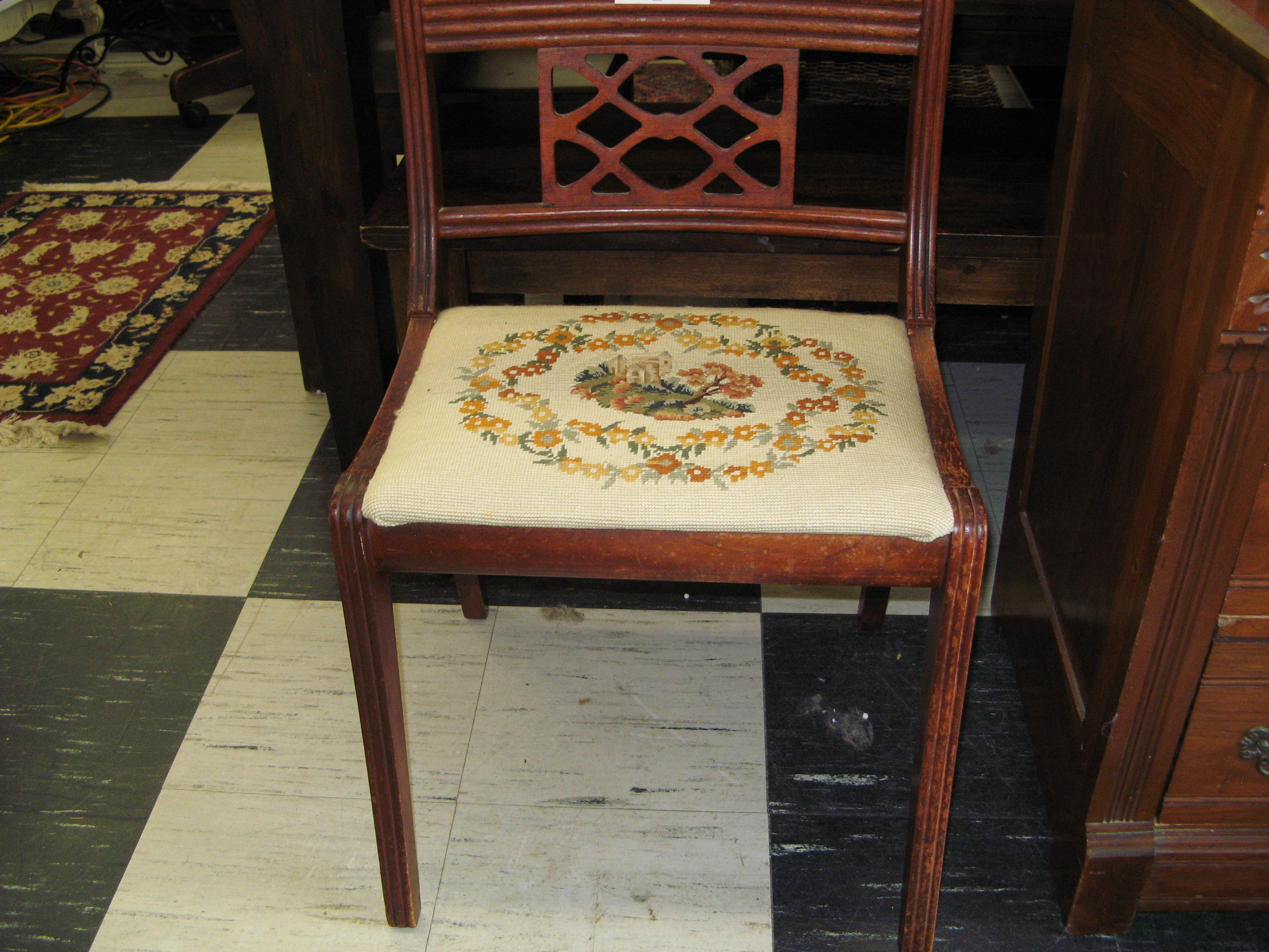Needlepoint Accent Chair with Wide Seat & Unique Back
