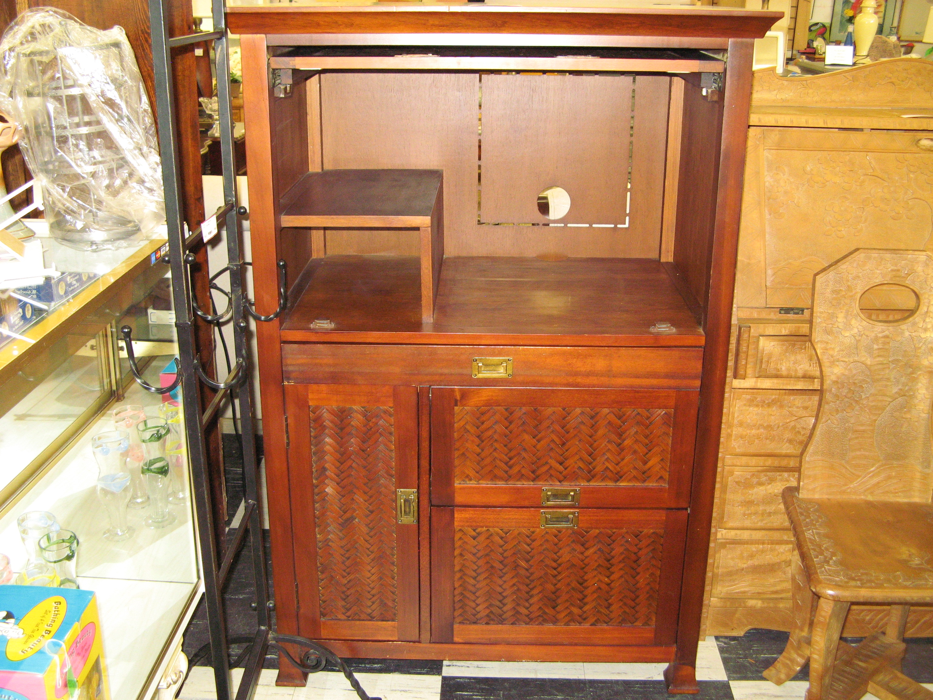 Pier 1 Imports Wood & Rattan Media Cabinet