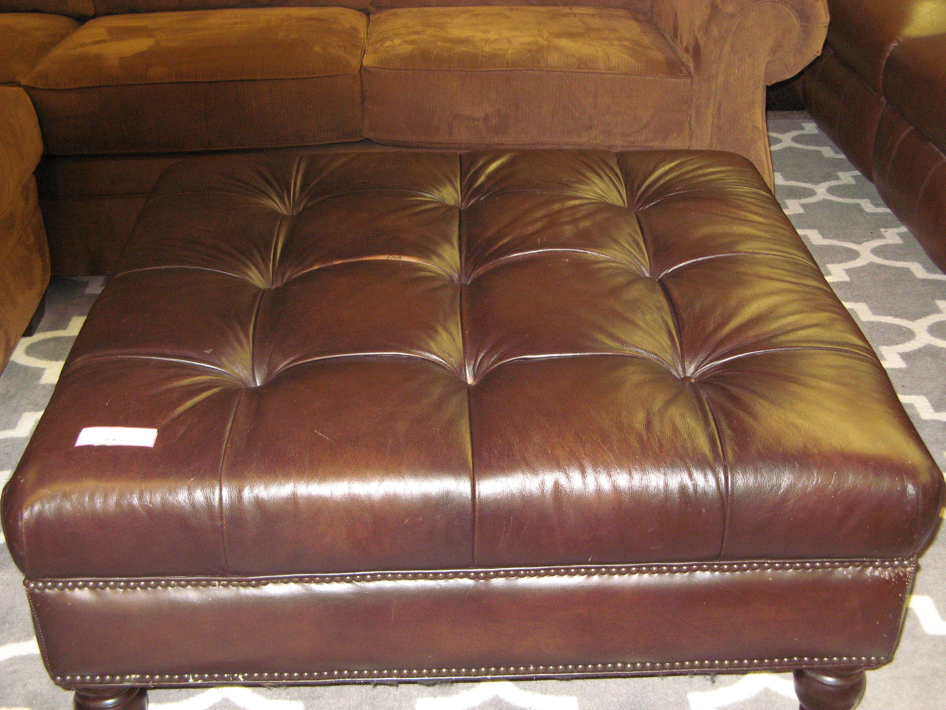Chocolate Tufted Leather Ottoman, 40