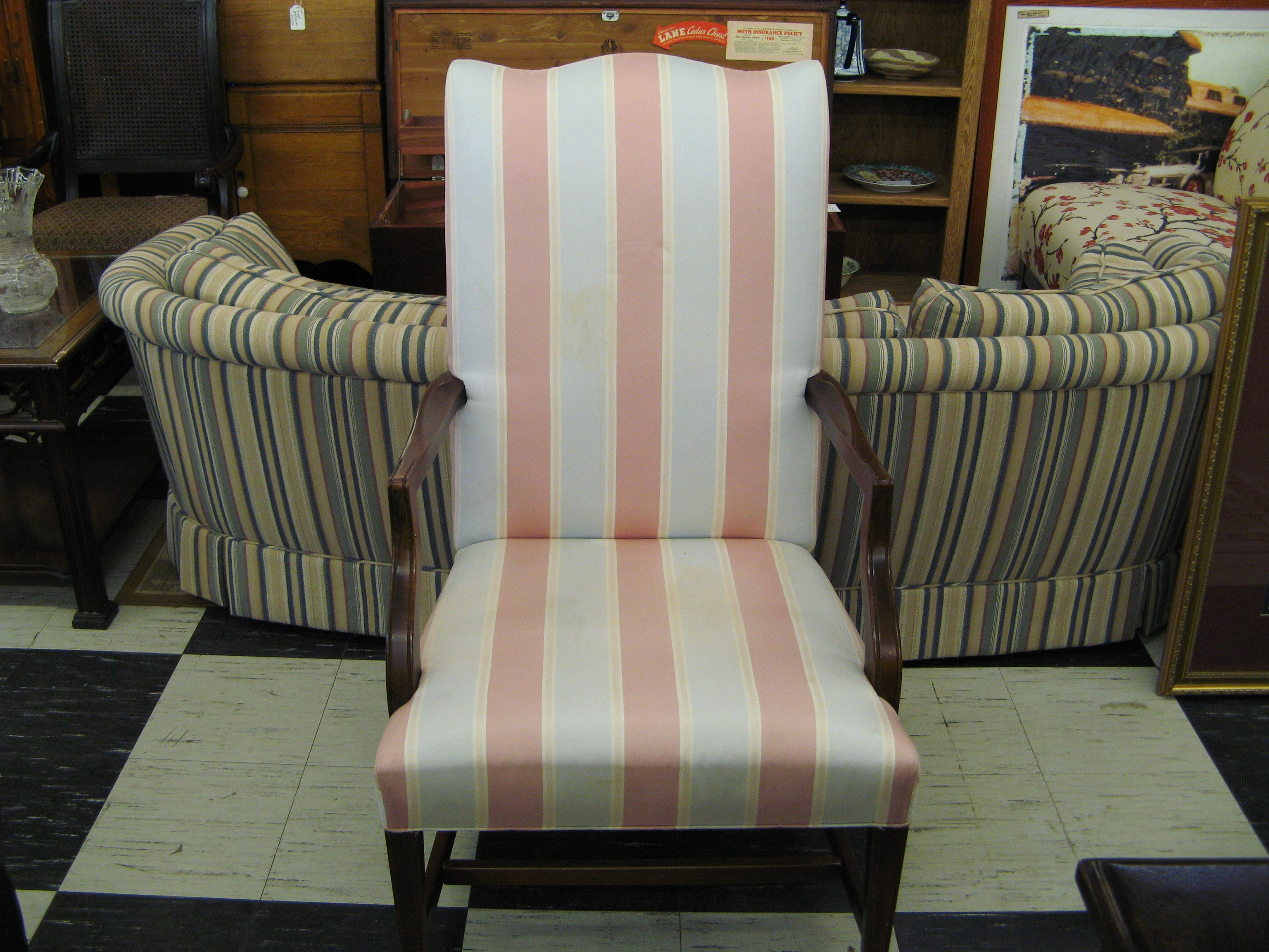 Pink and Pale Blue Striped Accent Chair