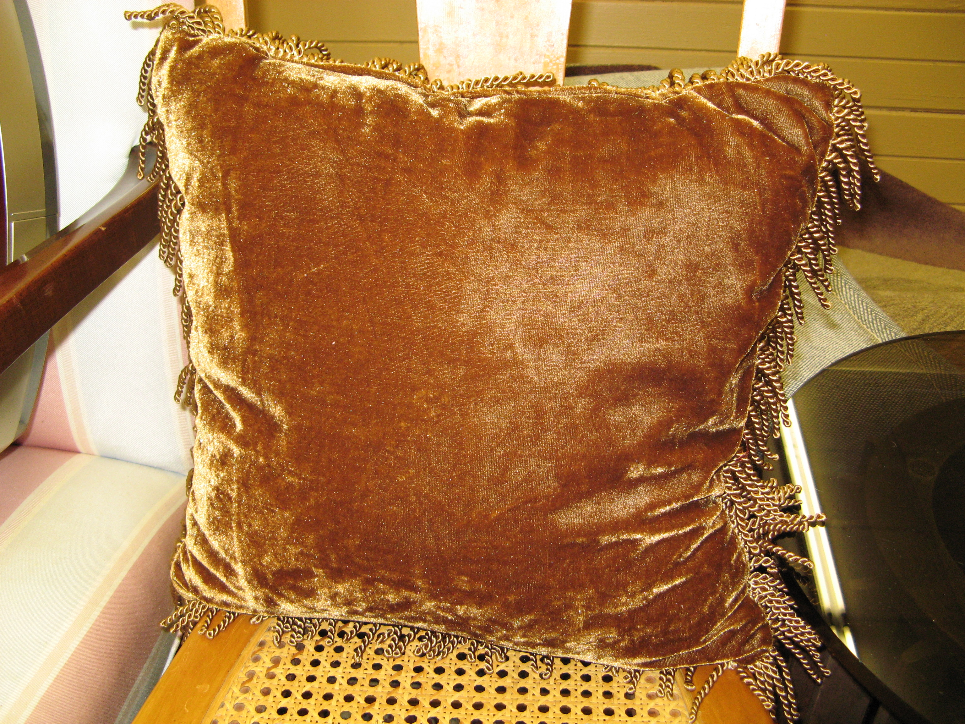 Brown Velvet Throw Pillow with Fringe