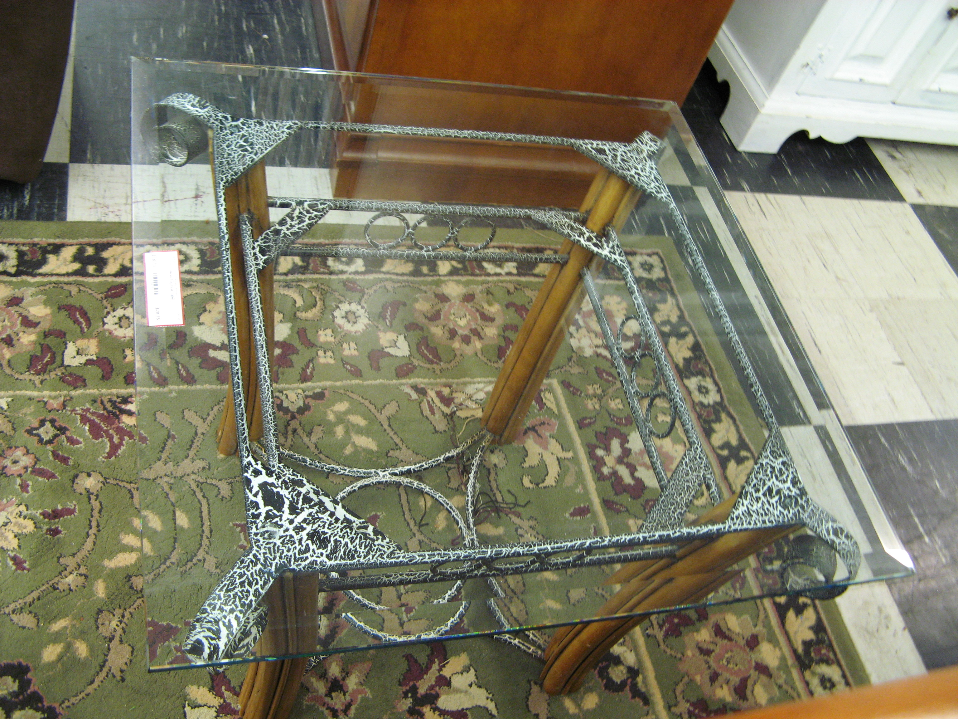 Glass Top End Table with Metal & Bamboo Base