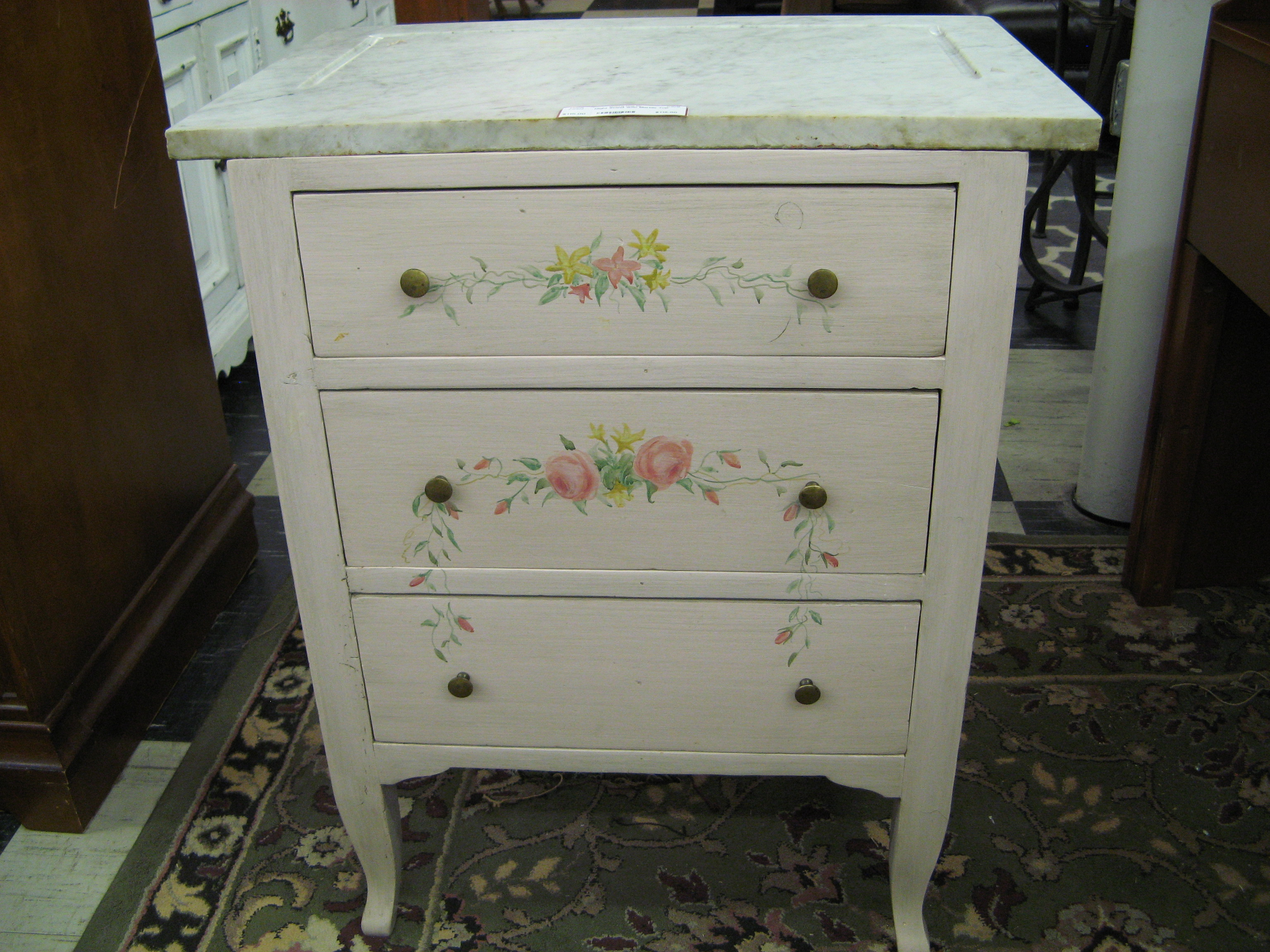 Night Stand Painted Pale Pink w/ Pink & Yellow Flowers. White & Grey Marble Top