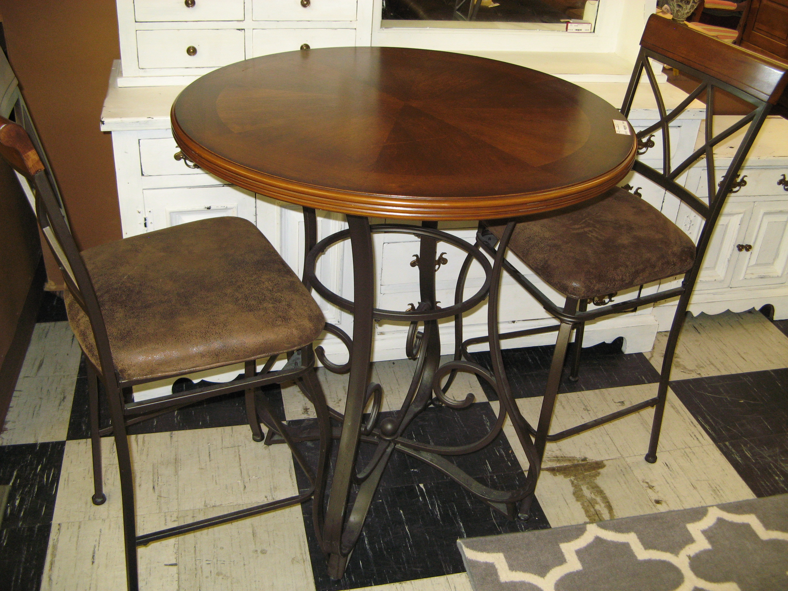 Round Bistro Set: Bar Height Table with 2 Matching Bar Stool-Chairs