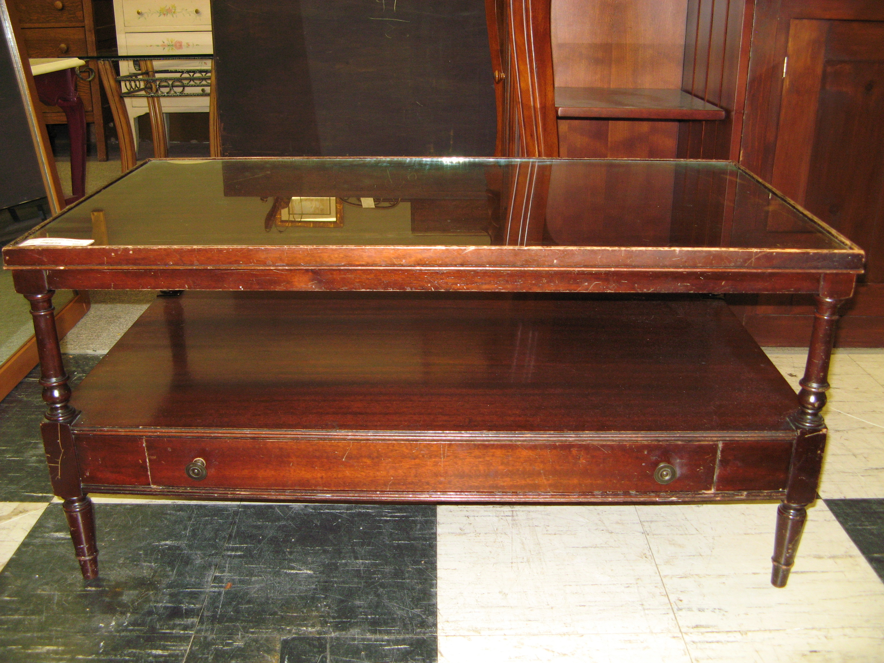 Vintage Coffee Table with Inset Glass Top & Lower Shelf, Dark Wood Stain