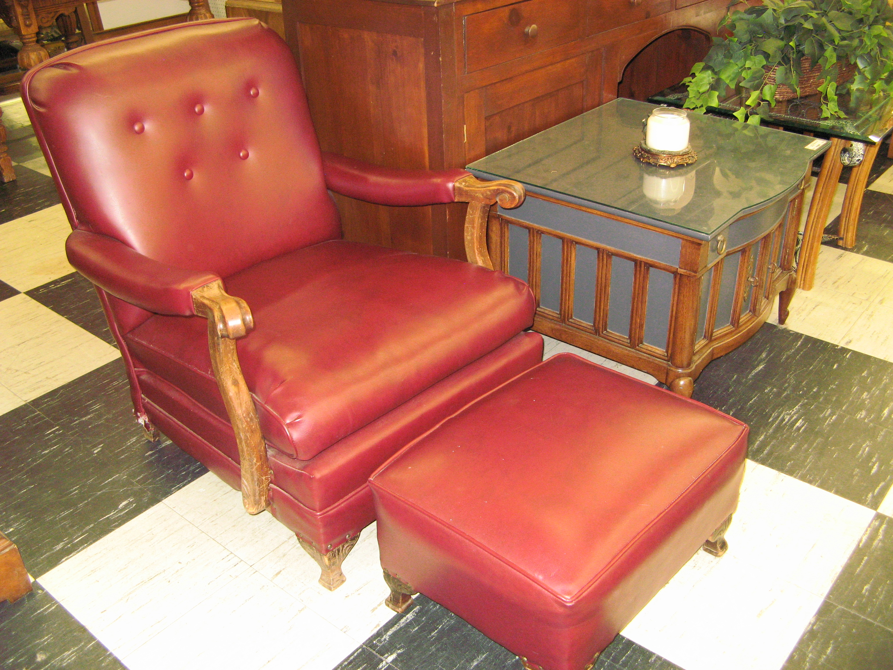 Red/Burgundy Chair with Ottoman