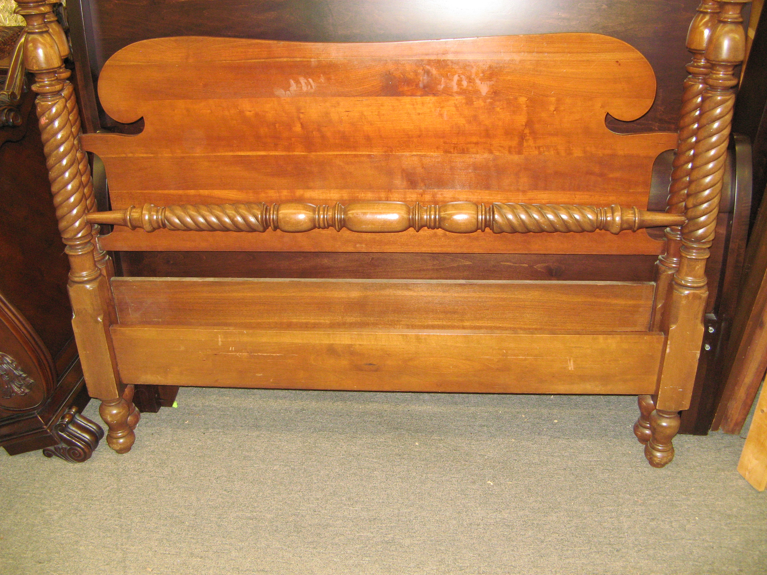 Crescent Mfg. Cherry Full Size Bed w/ Spindle Bar & Barley Twist Posts