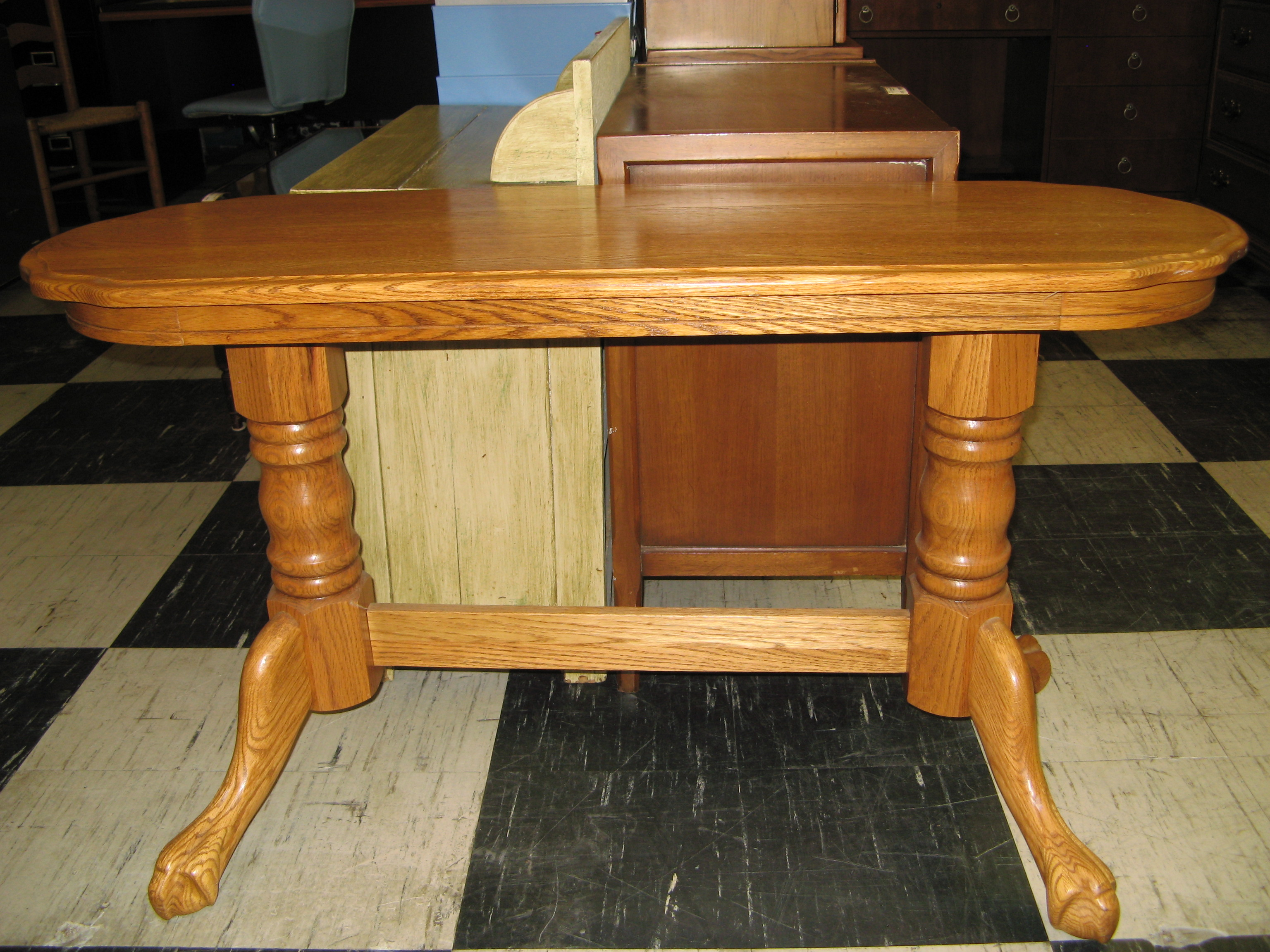 Solid Oak Foyer Table with Trestle Base & Clawfoot Legs