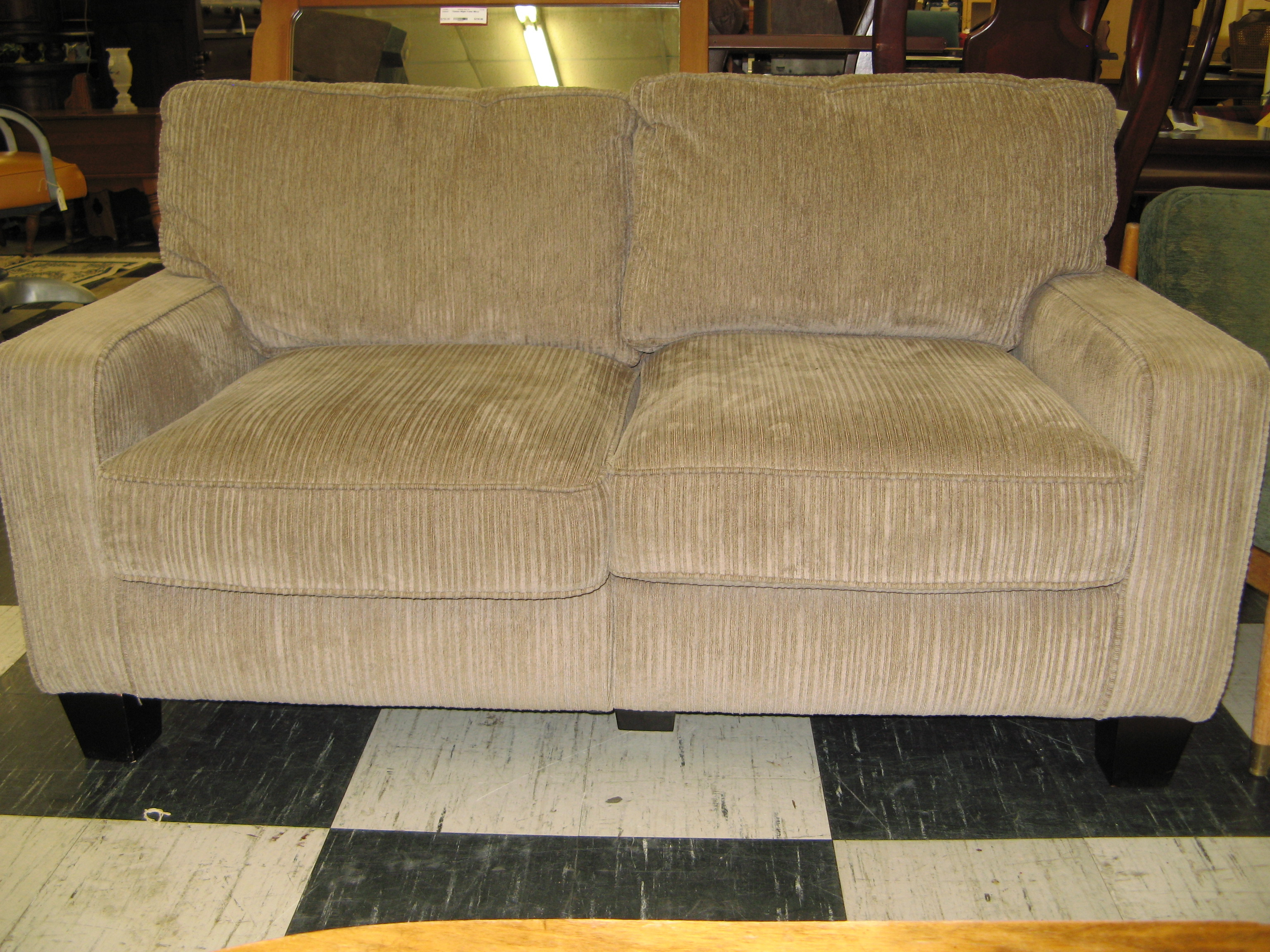 Warm Gray/Taupe Loveseat with Wide-Ribbed Corduroy Upholstery