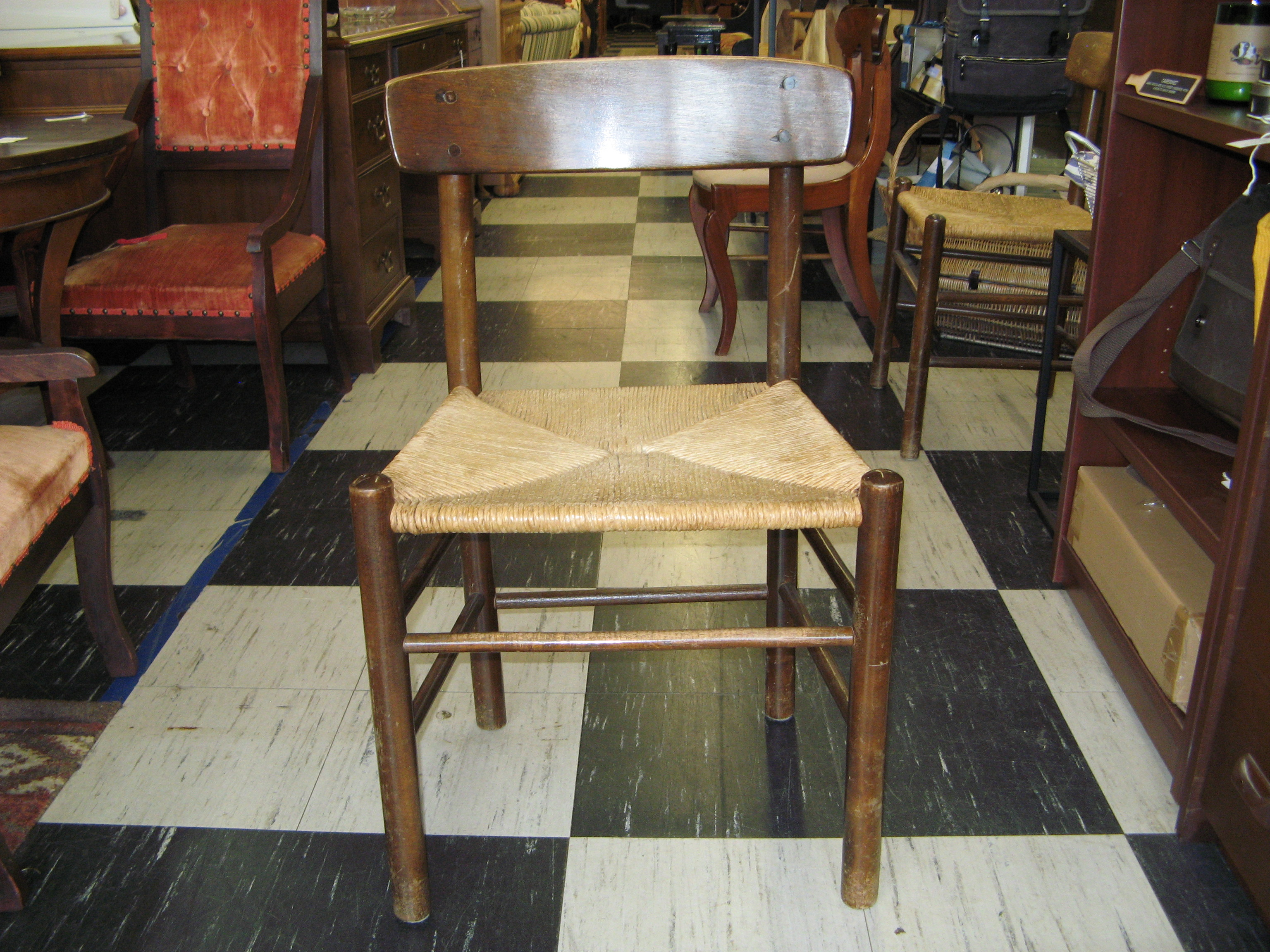 Wood Chair with Rush Seat