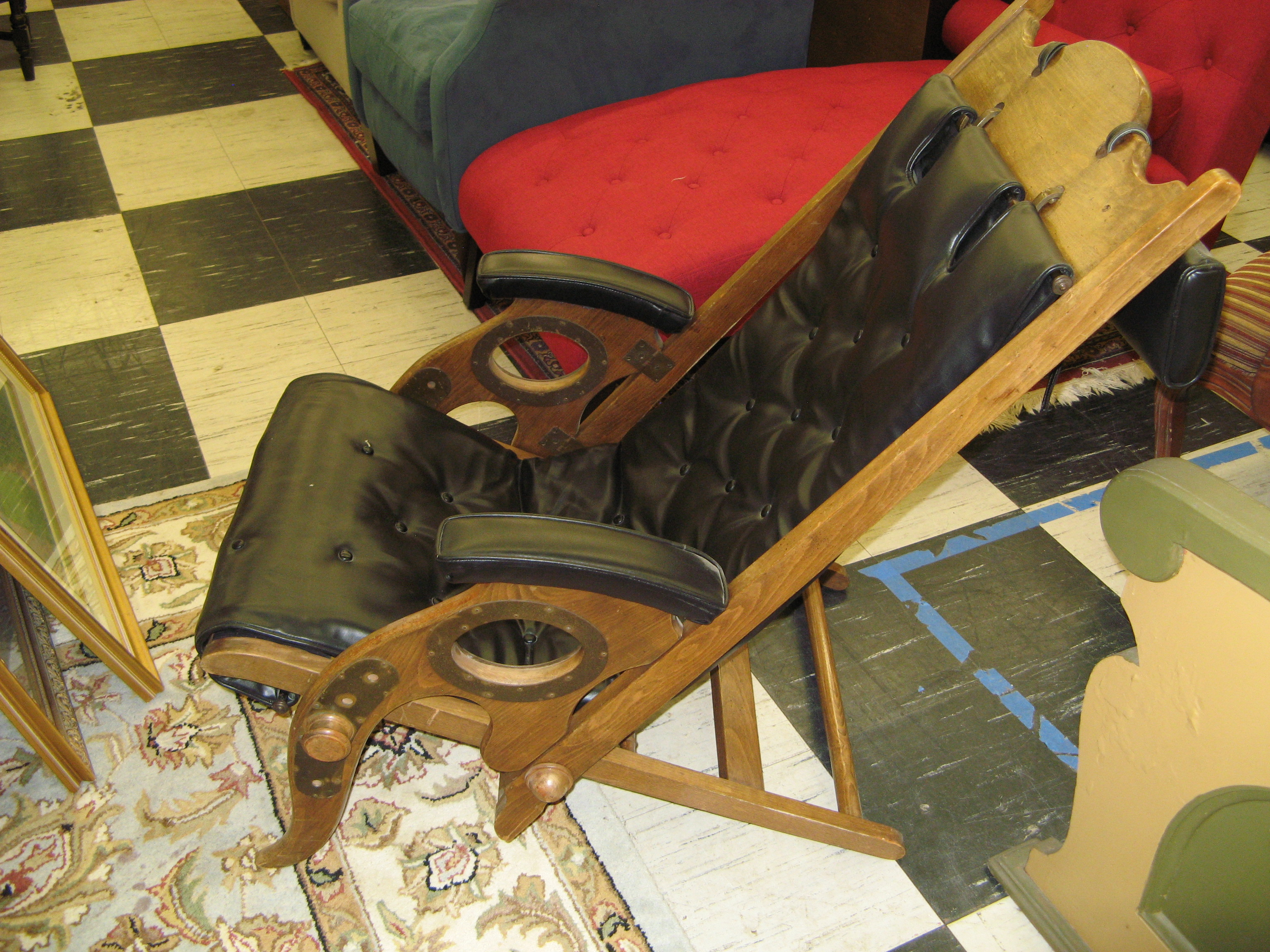 Vintage Adjustable Low Sitting Recliner, Rustic/Industrial
