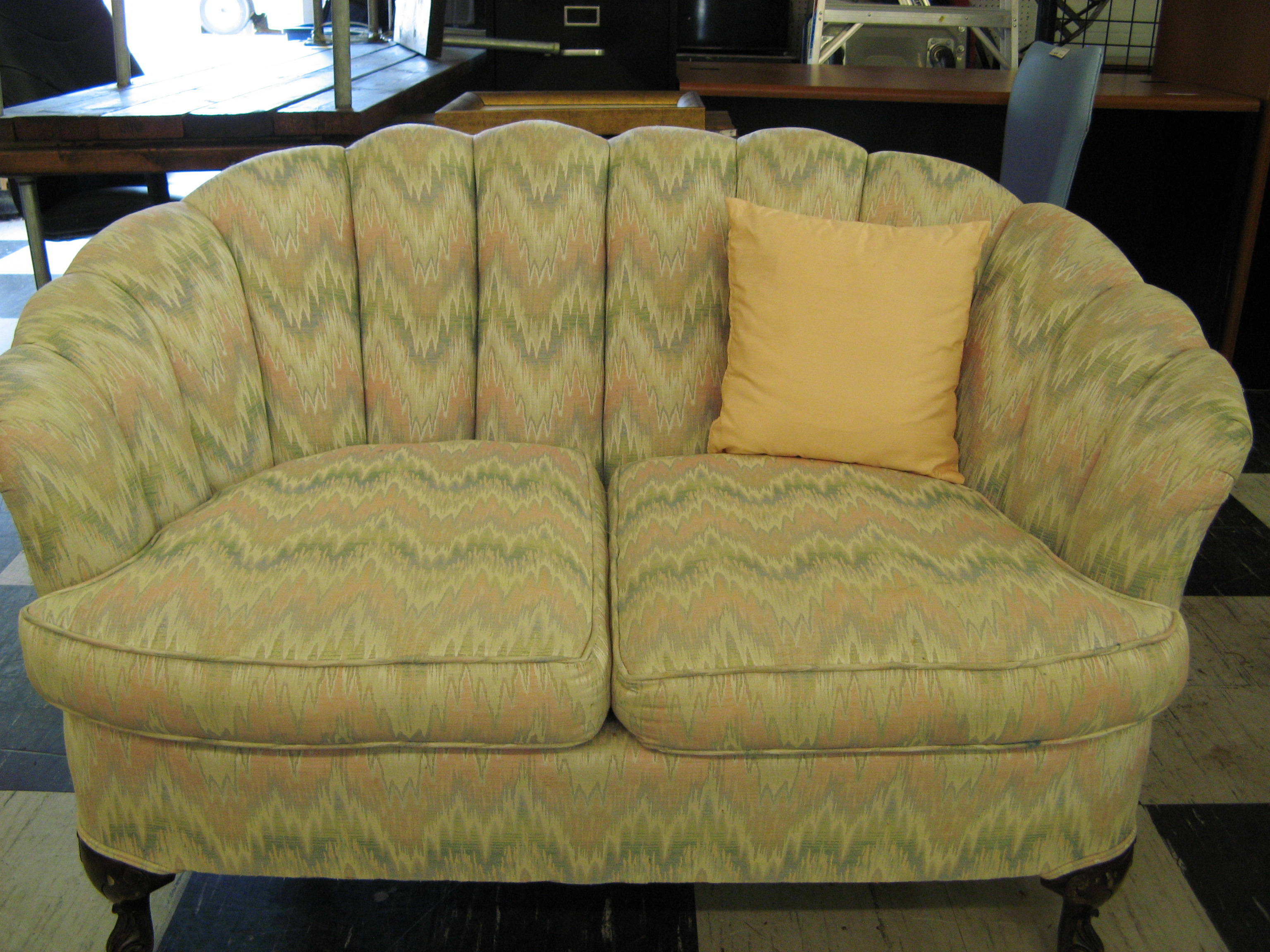 Clamshell Loveseat/Settee with Claw Foot Legs