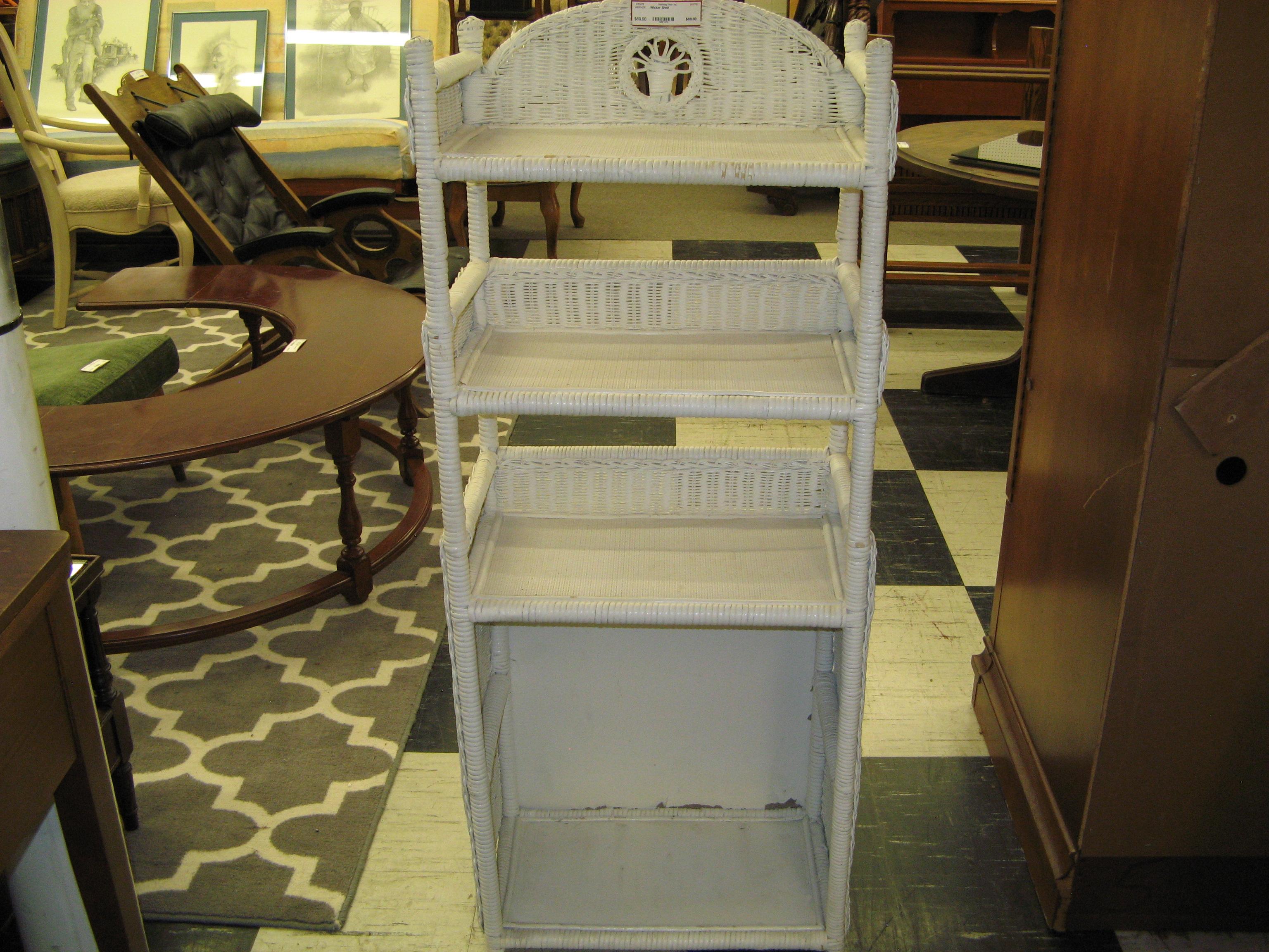 White Wicker Floor Standing Shelf