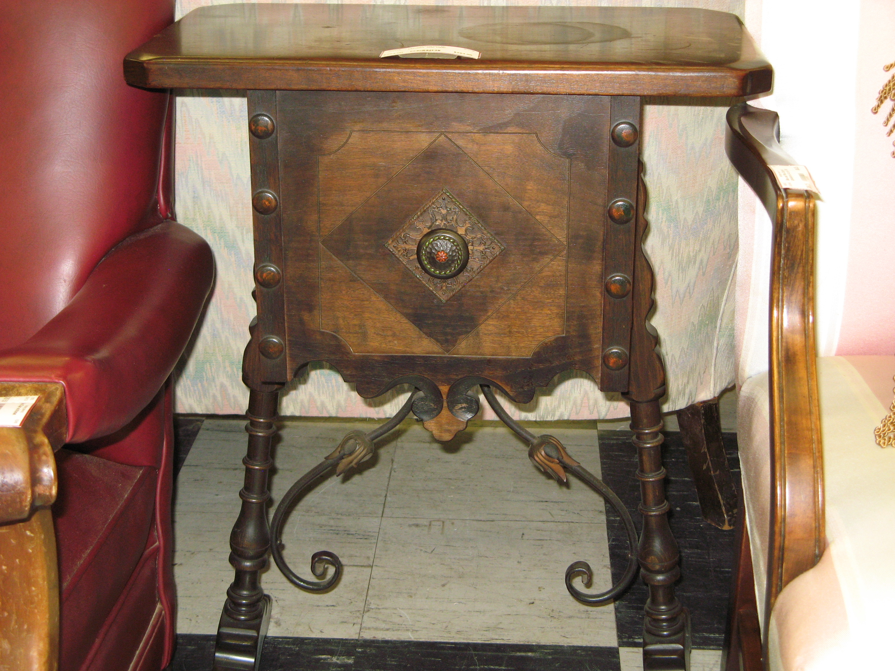 Humidor Side Table with Unique Detail & Trestle Base, Antique