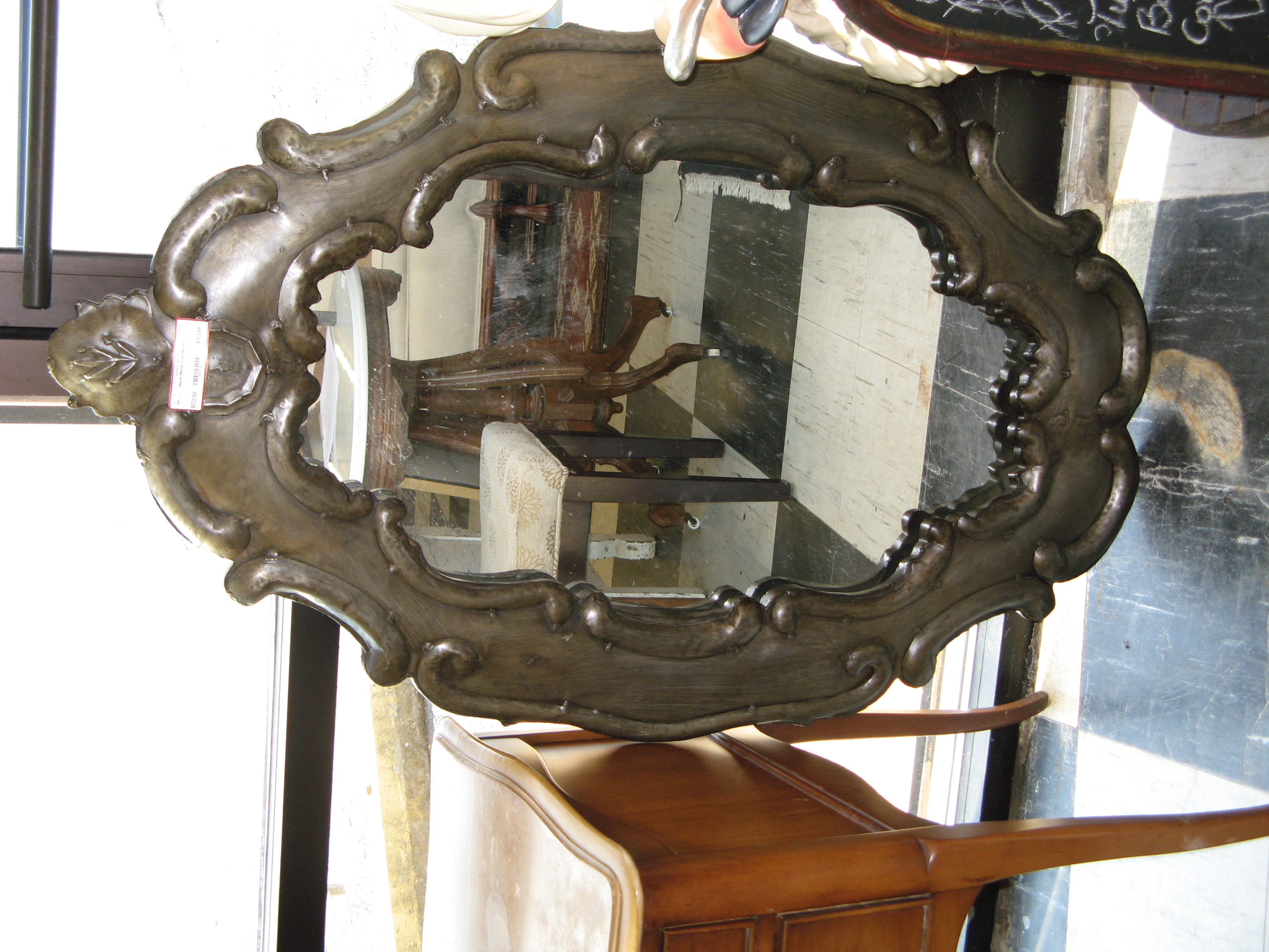 Black Metal Framed Oval Mirror with Flourishes, Art Nouveau